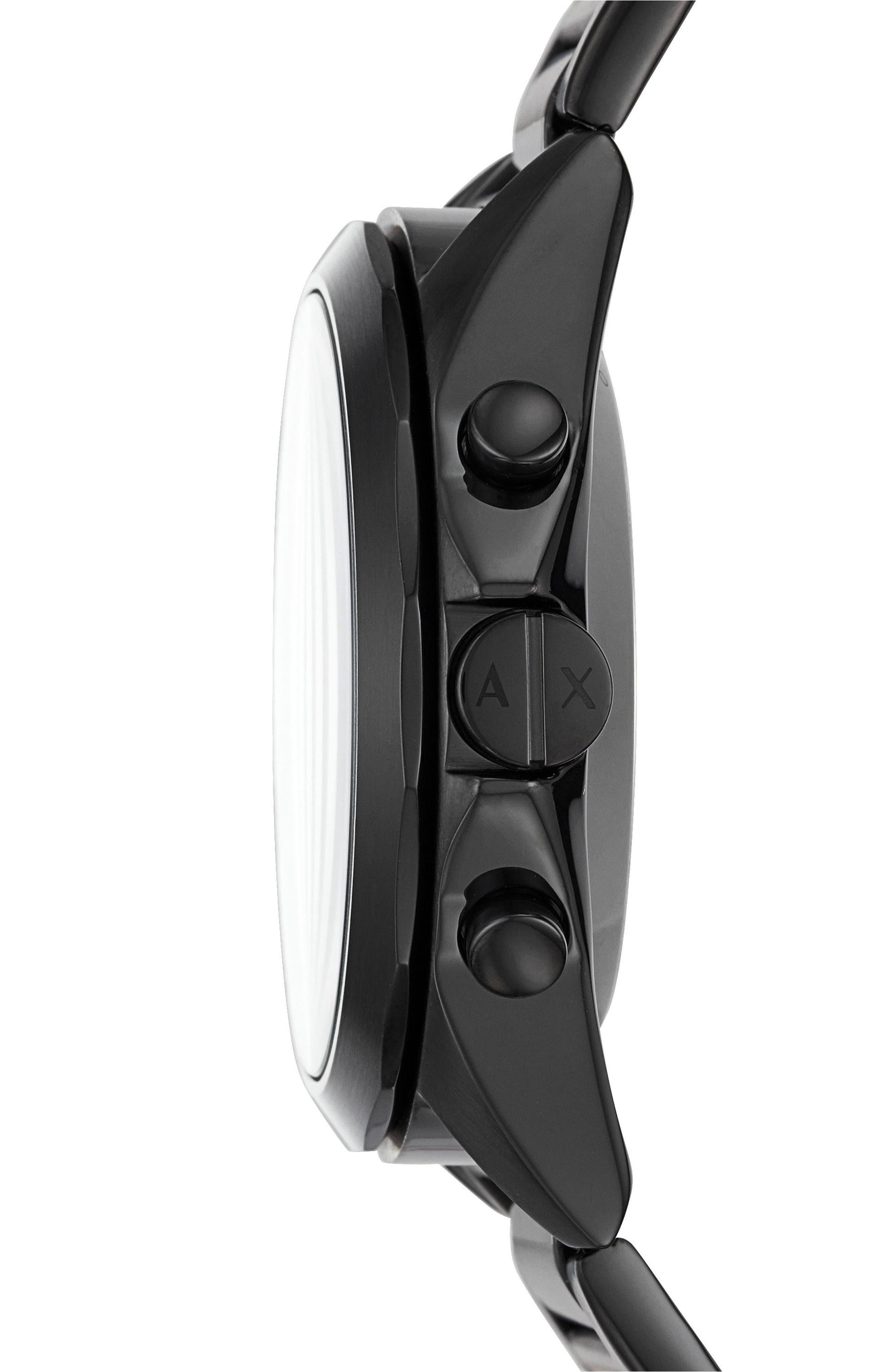 Connected Bracelet Hybrid Smartwatch, 44mm,                             Alternate thumbnail 3, color,                             BLACK/ BLACK