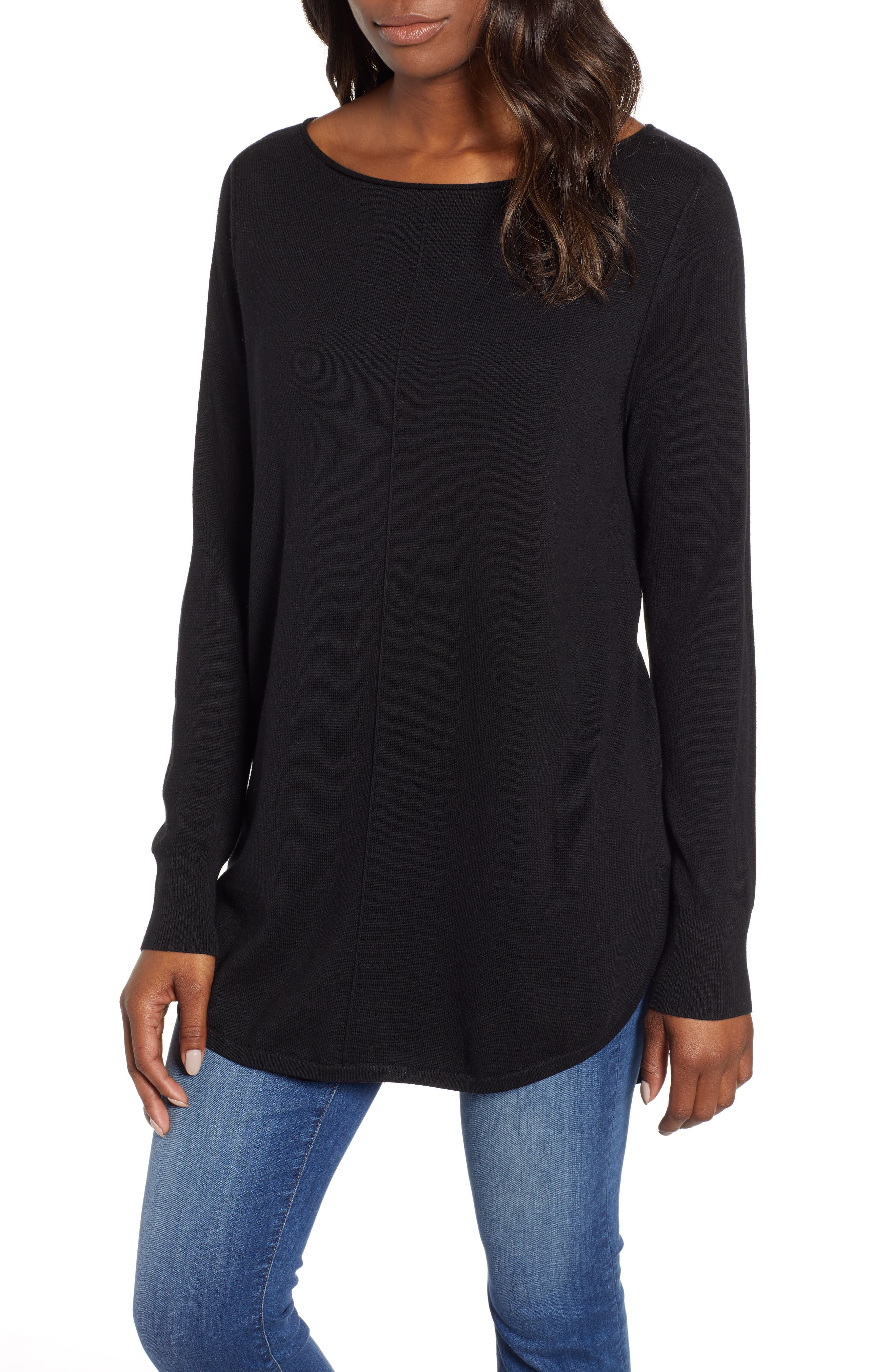 Seam Detail Shirttail Tunic,                             Main thumbnail 1, color,                             BLACK