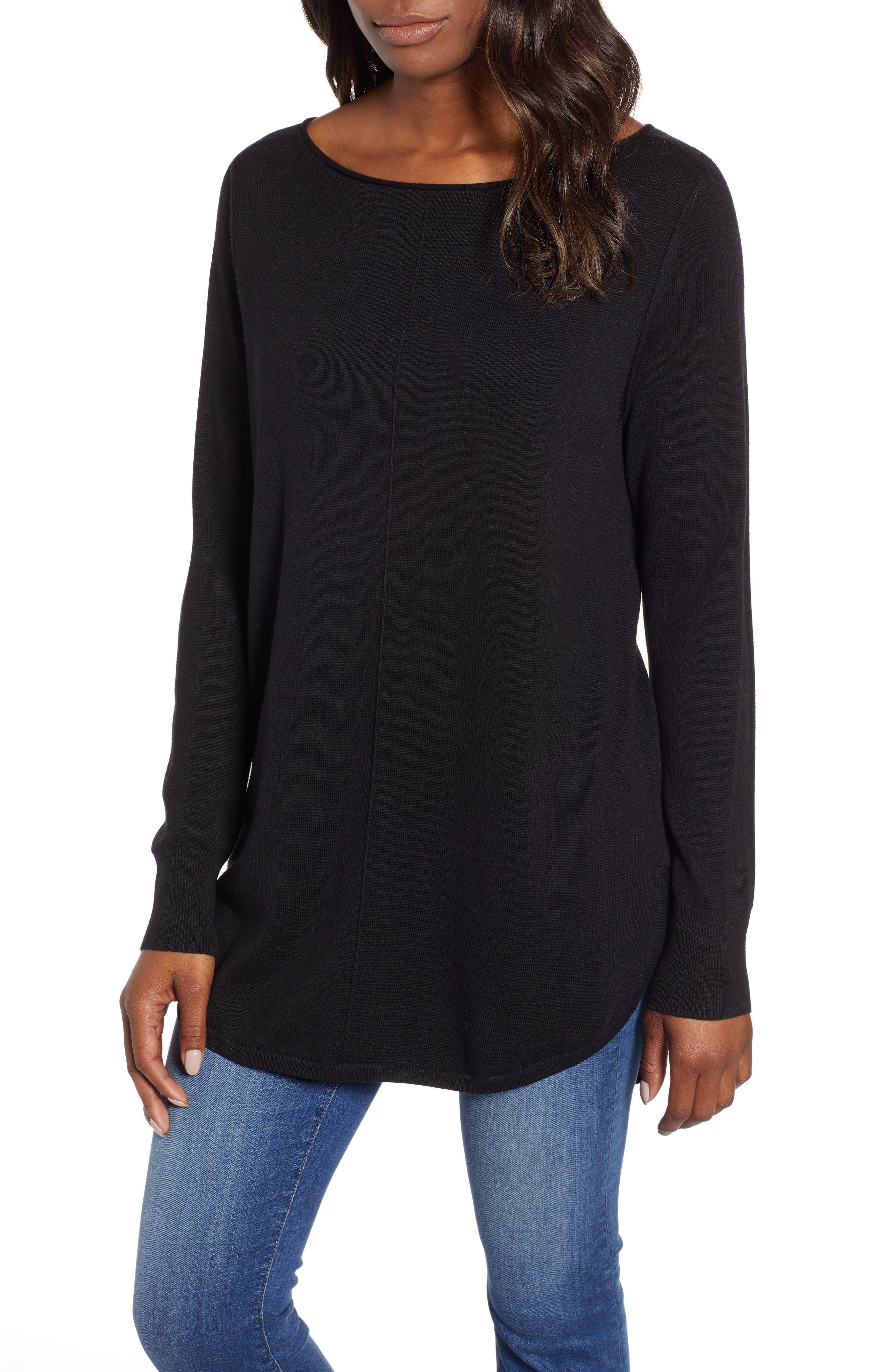 Seam Detail Shirttail Tunic, Main, color, BLACK