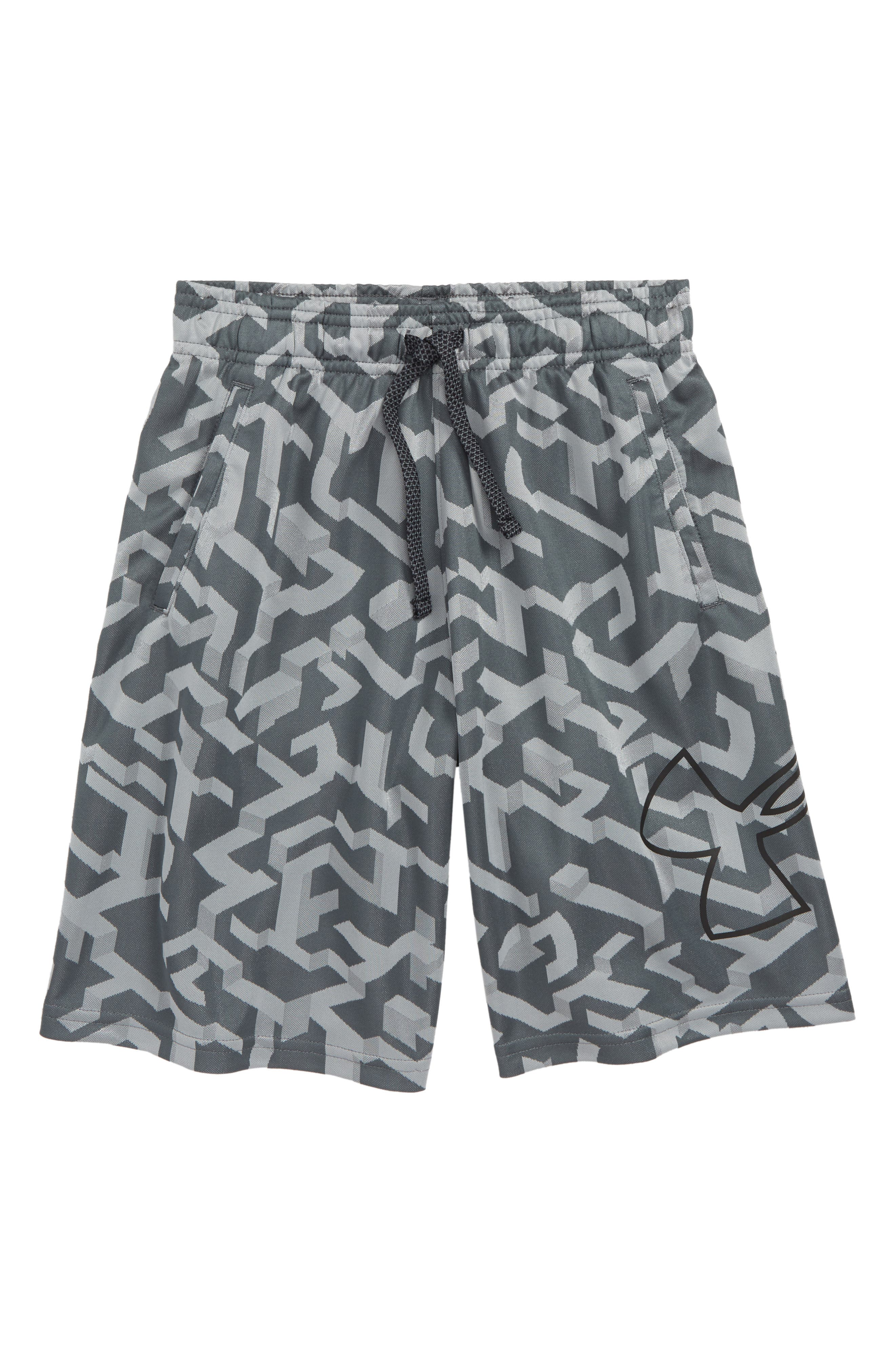 UNDER ARMOUR Renegade 2.0 Jacquard Shorts, Main, color, PITCH GRAY/ BLACK