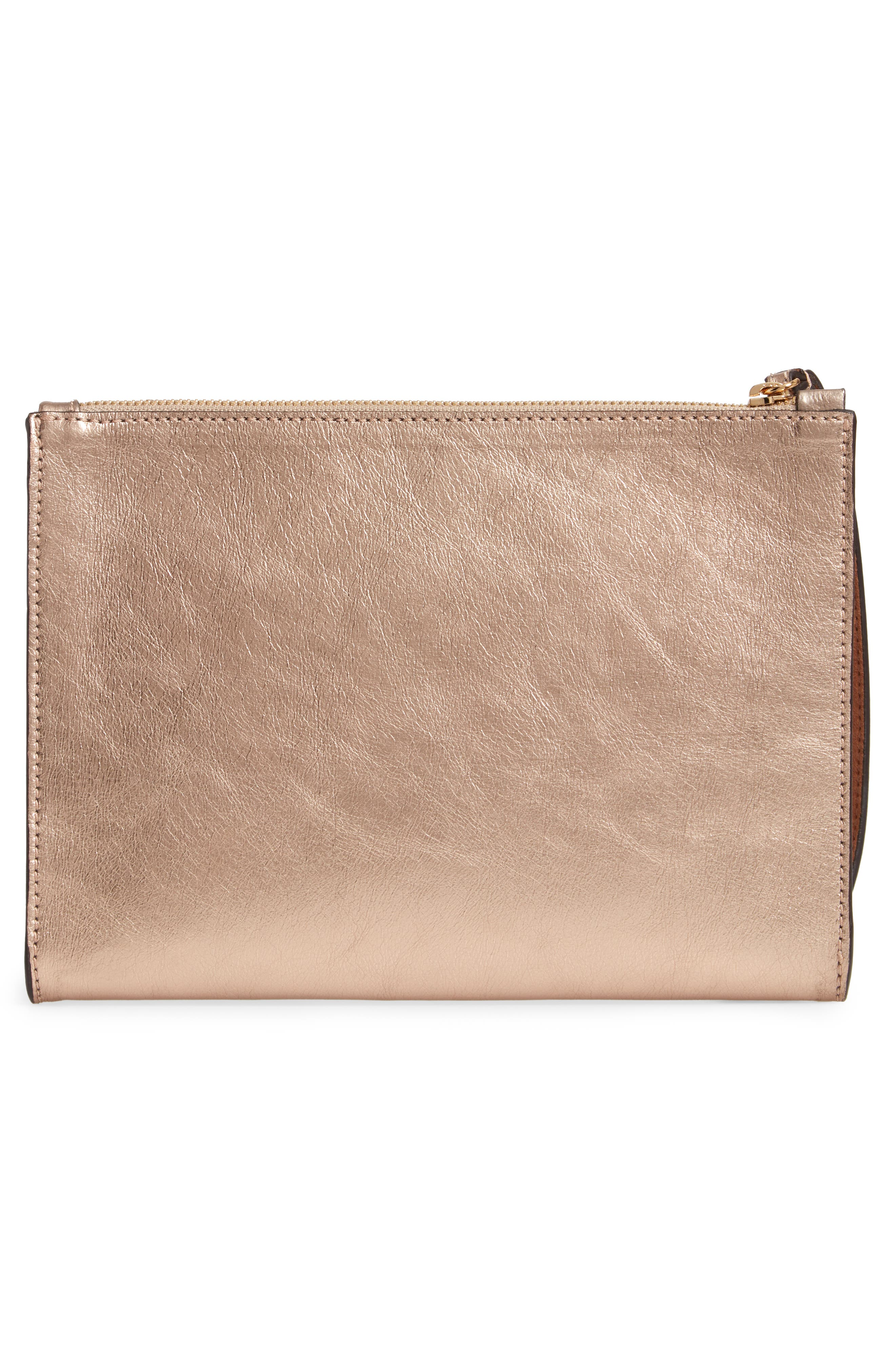 Metallic Faux Nappa Leather Wristlet Clutch,                             Alternate thumbnail 3, color,                             ROSE GOLD