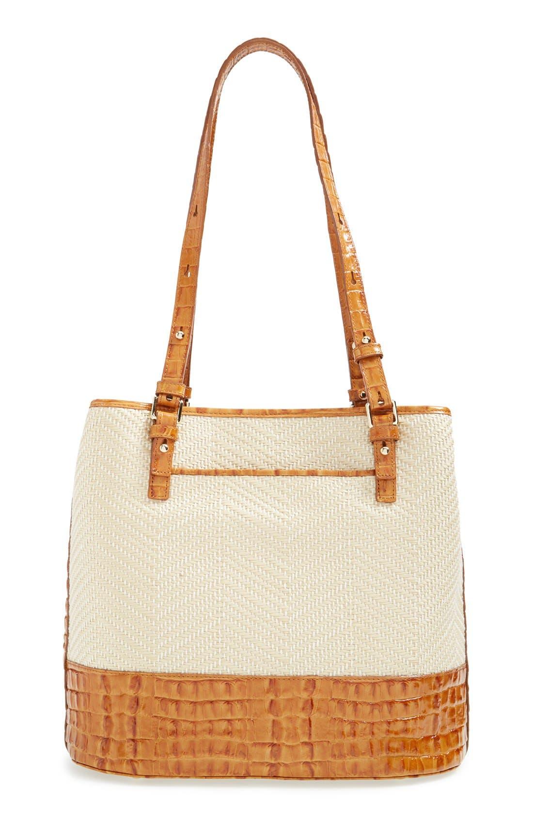 'Hudson' Leather & Raffia Bucket Bag,                             Alternate thumbnail 2, color,                             250