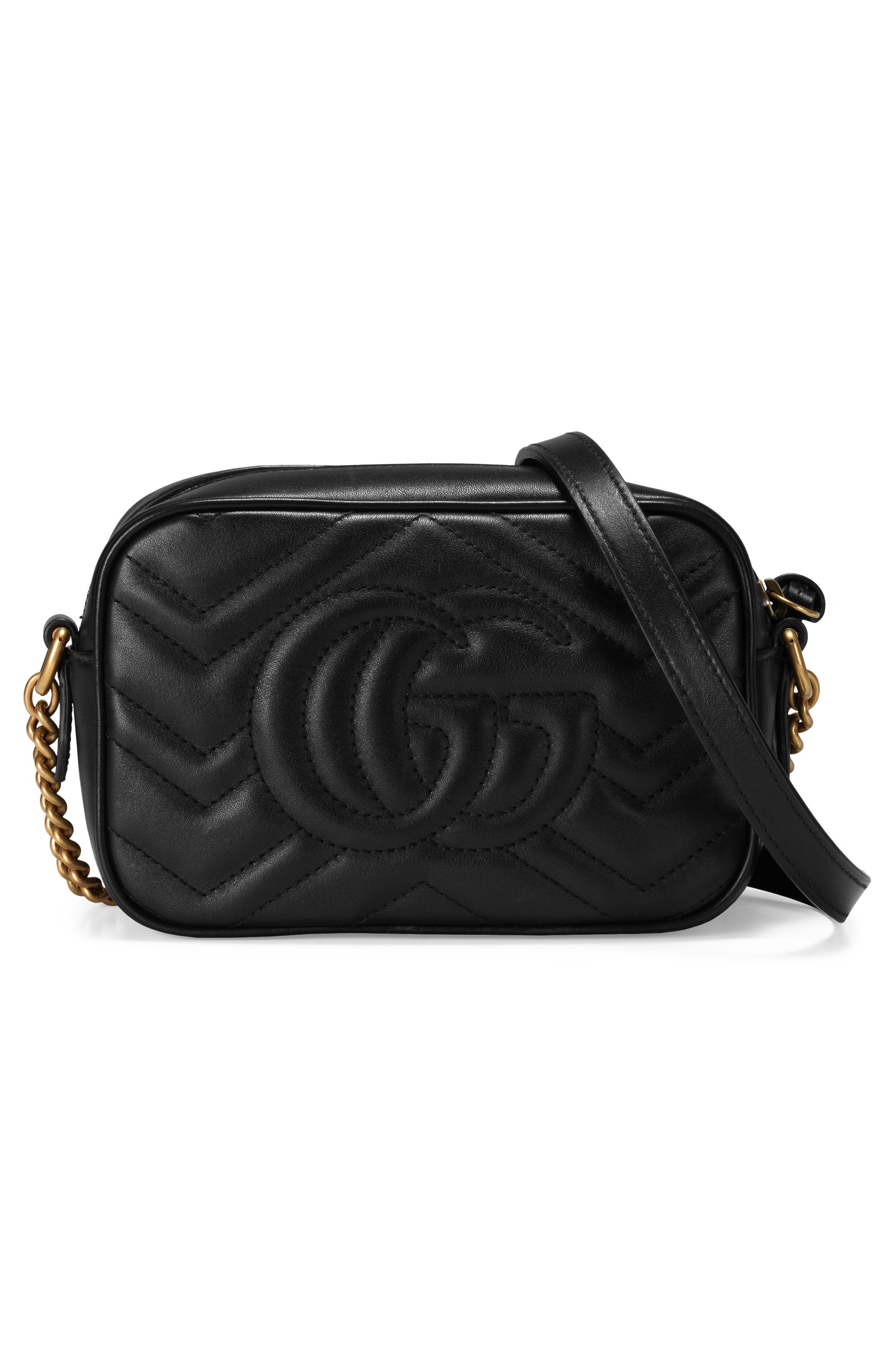 GG Marmont 2.0 Matelassé Leather Shoulder Bag,                             Alternate thumbnail 3, color,                             NERO