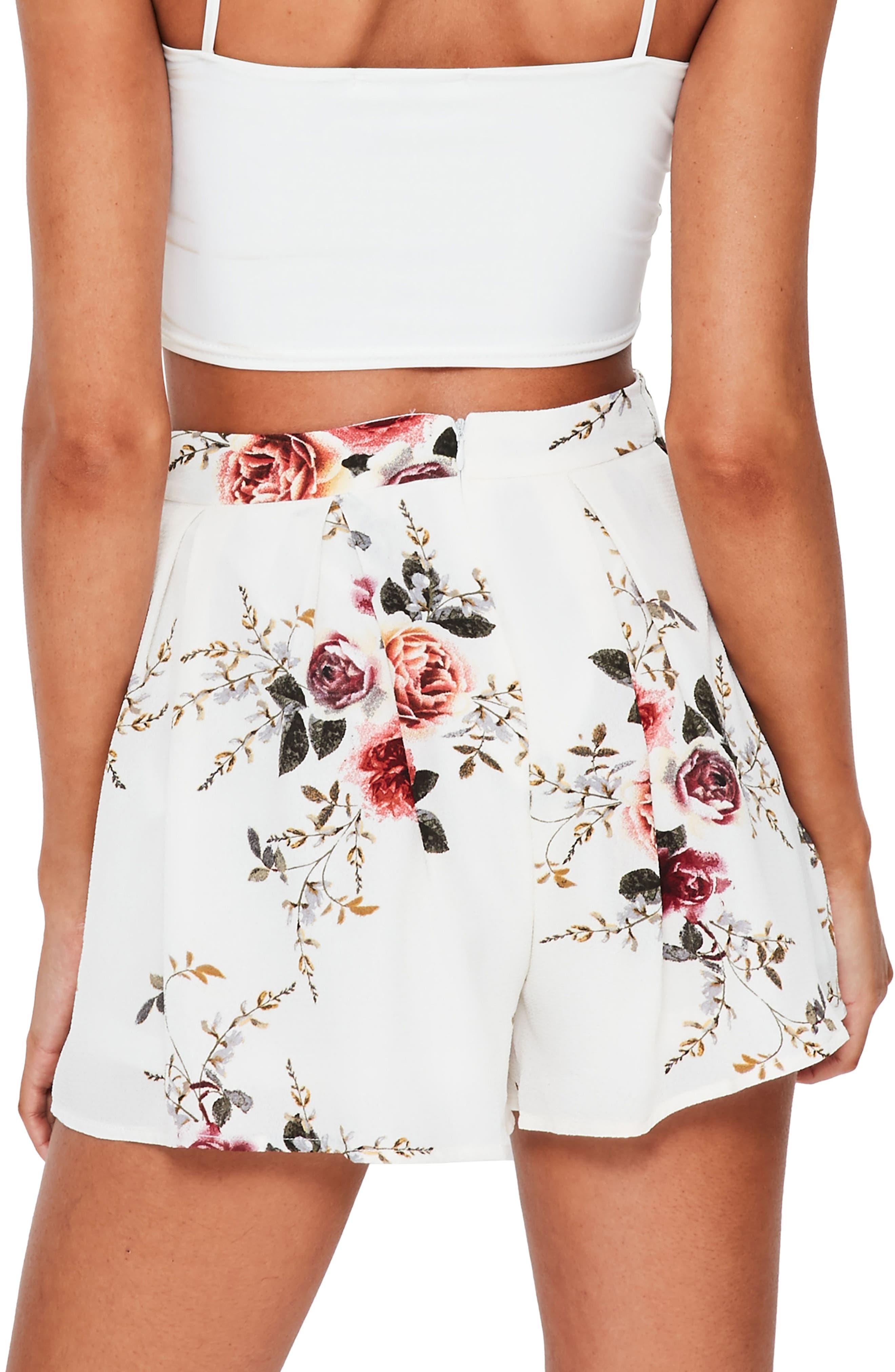 Floral Print High Waist Shorts,                             Alternate thumbnail 2, color,                             903