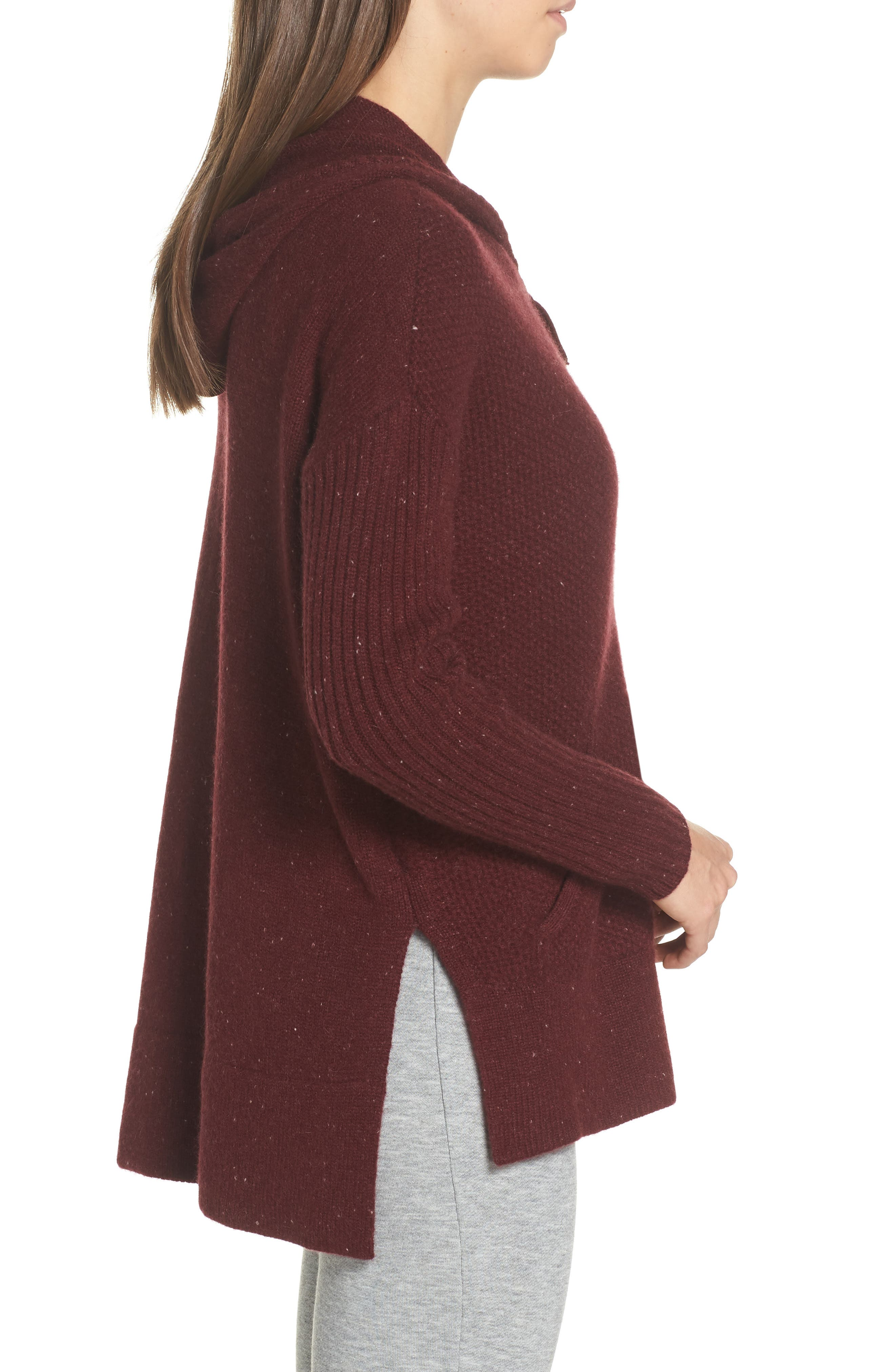Elyse Cashmere Zip Hoodie,                             Alternate thumbnail 3, color,                             PORT HEATHER