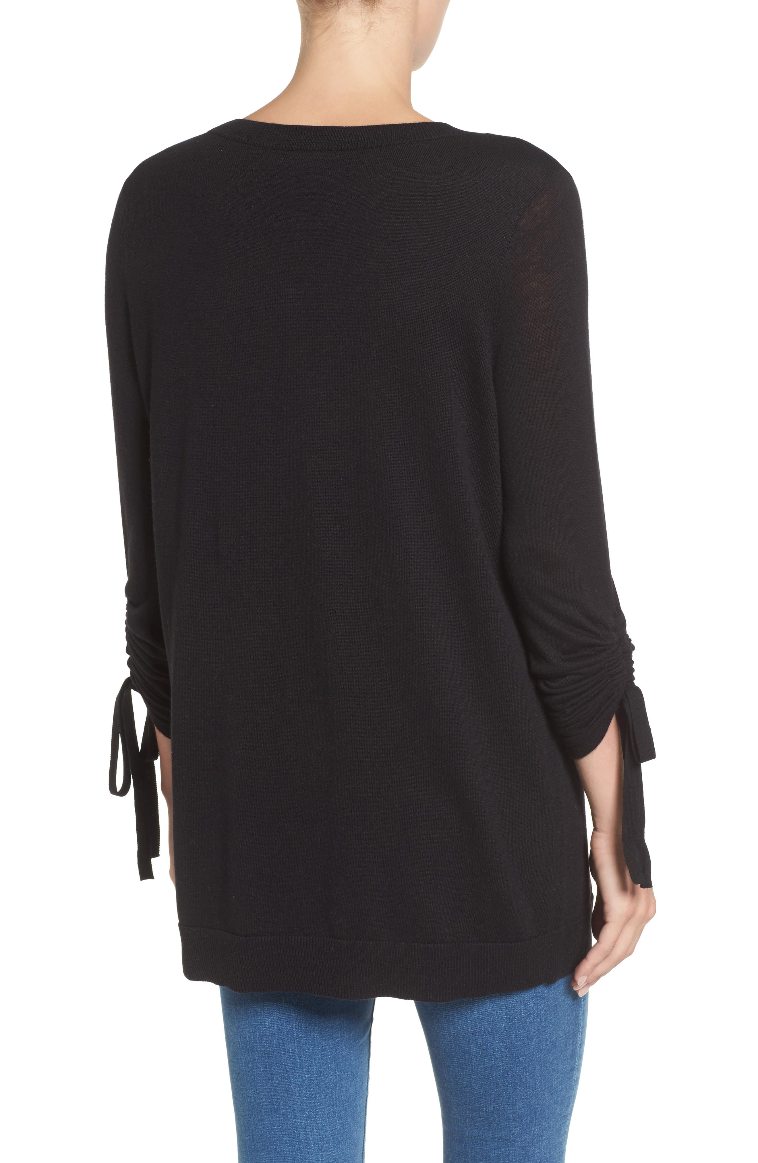 Ruched Sleeve Tunic Sweater,                             Alternate thumbnail 6, color,