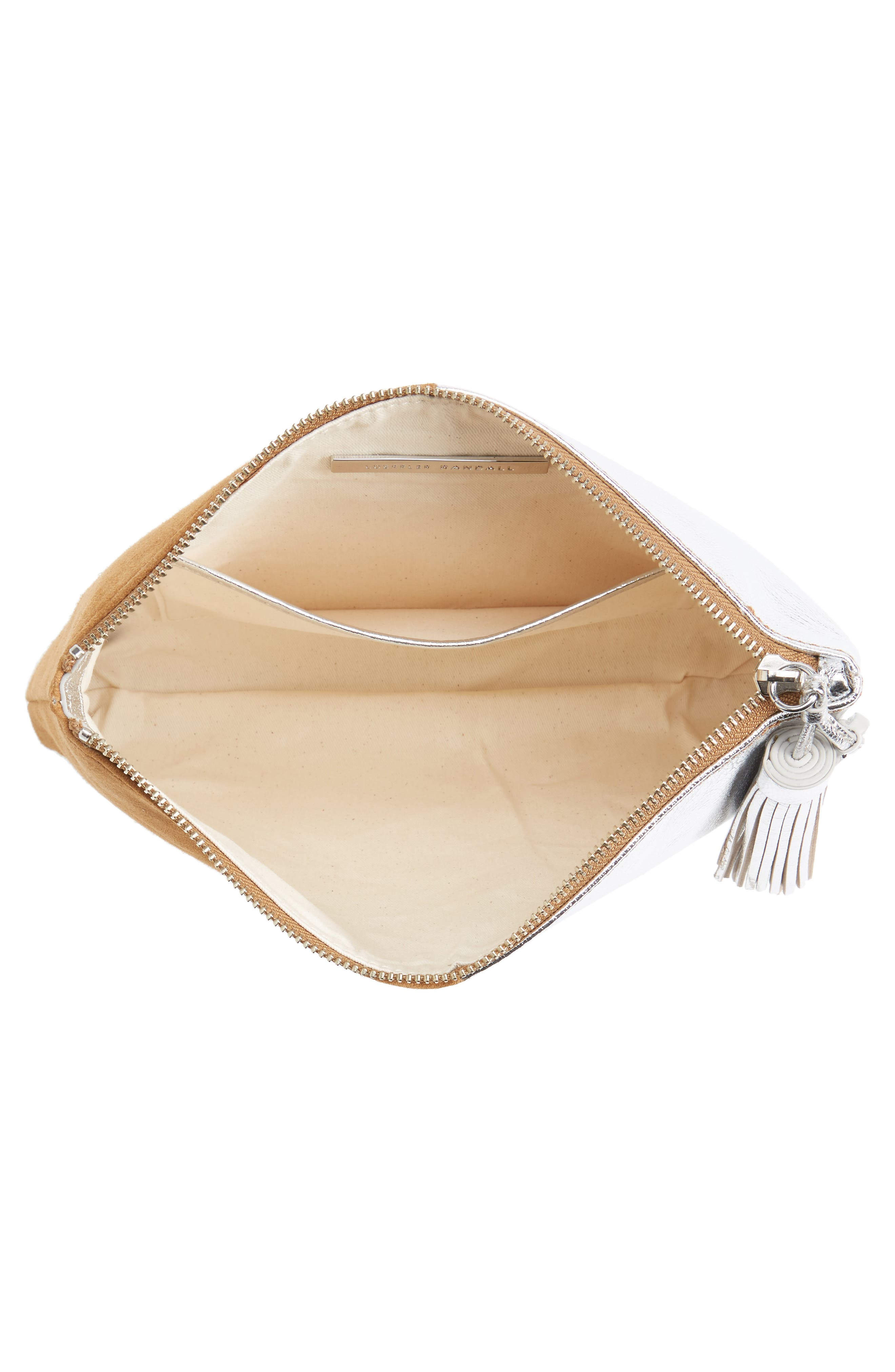 Tassel Metallic Leather & Suede Pouch,                             Alternate thumbnail 4, color,                             269