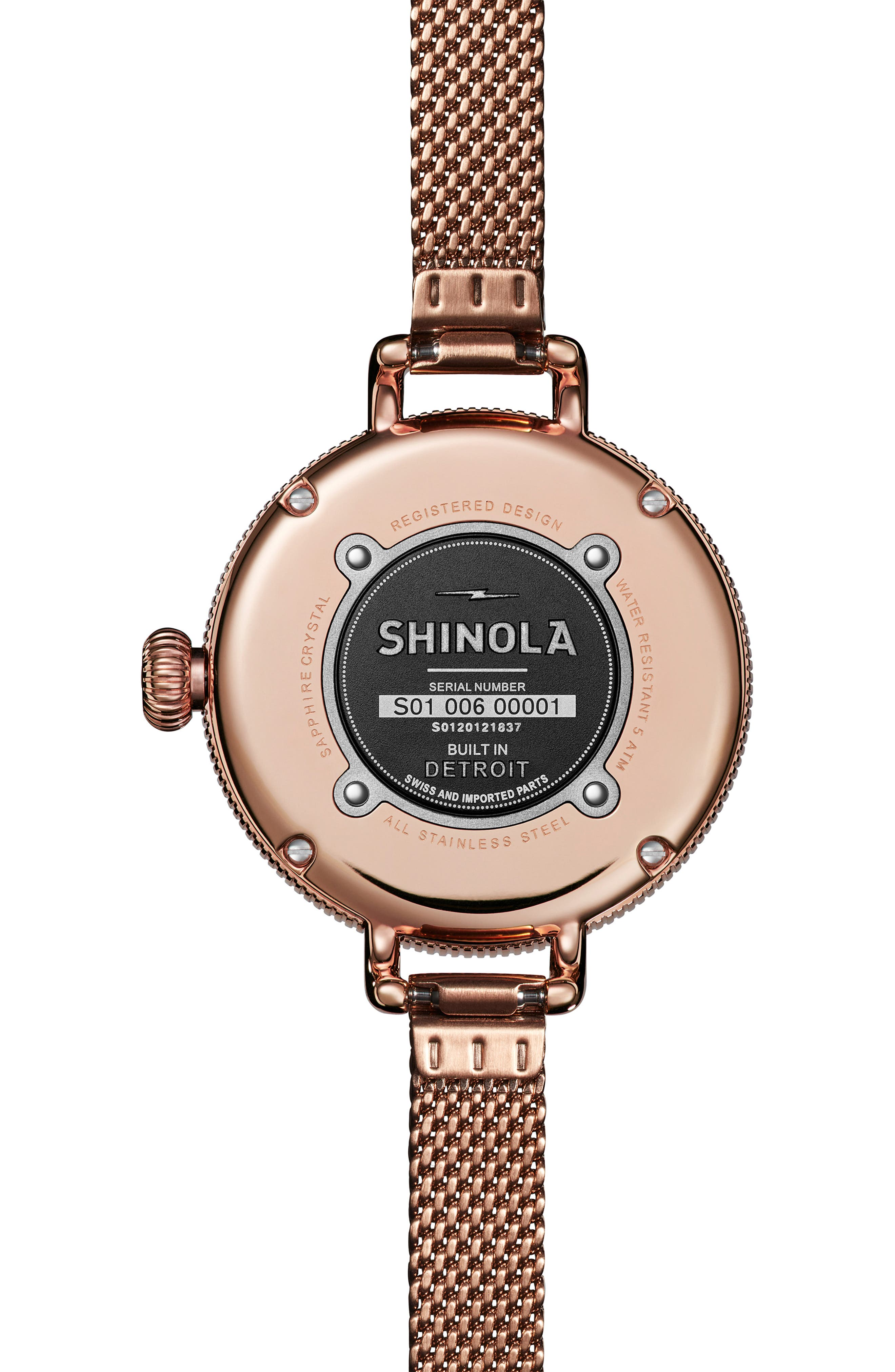 Birdy Mesh Bracelet Watch, 34mm,                             Alternate thumbnail 2, color,                             ROSE GOLD/ WHITE/ ROSE GOLD