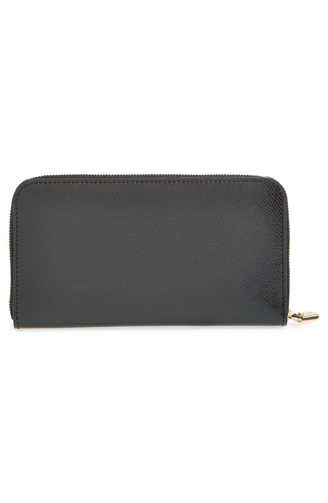 BURBERRY,                             'Elmore - London Leather' Zip Around Wallet,                             Alternate thumbnail 2, color,                             001