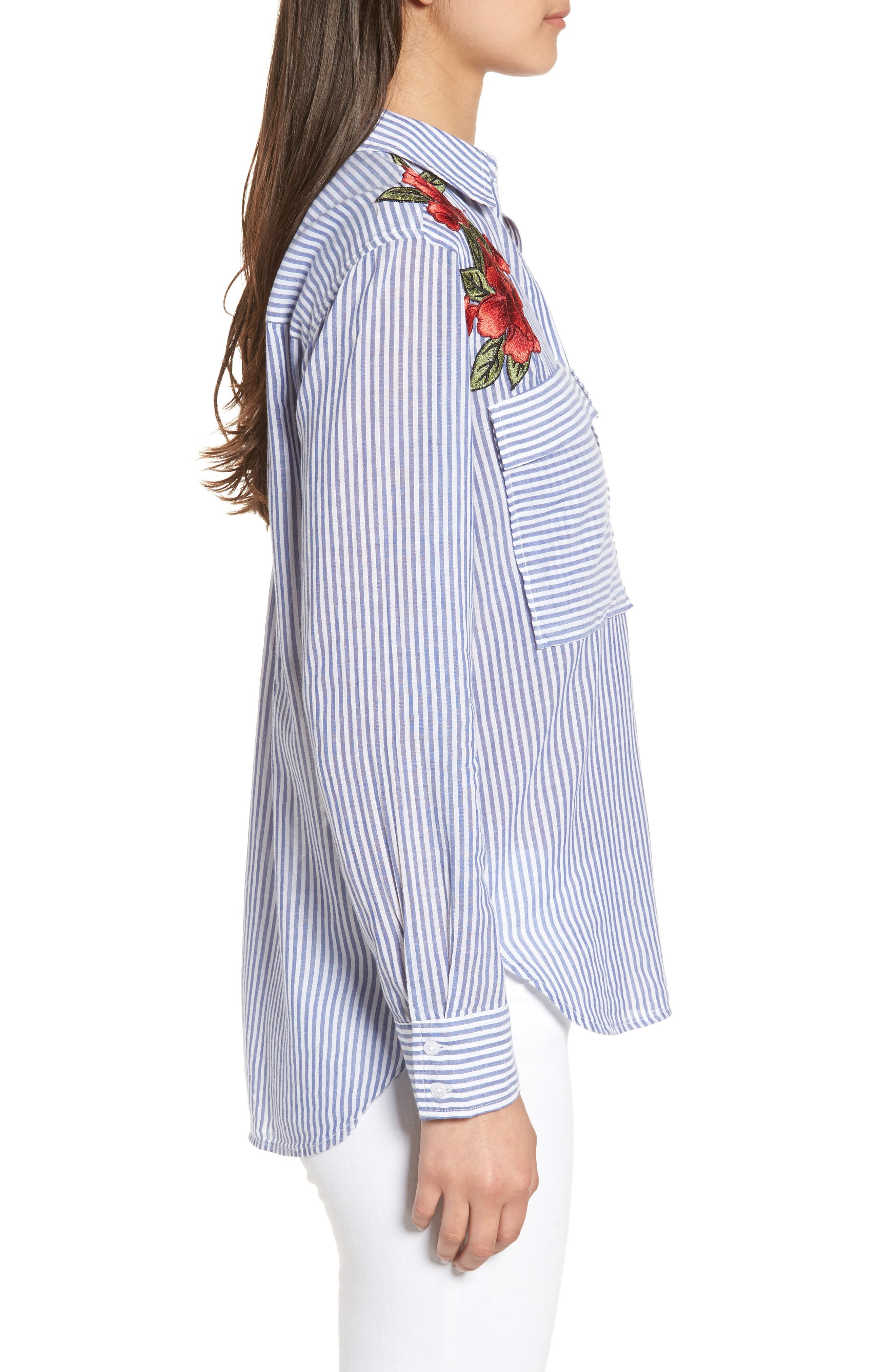 Frances Embroidered Stripe Shirt,                             Alternate thumbnail 3, color,                             425