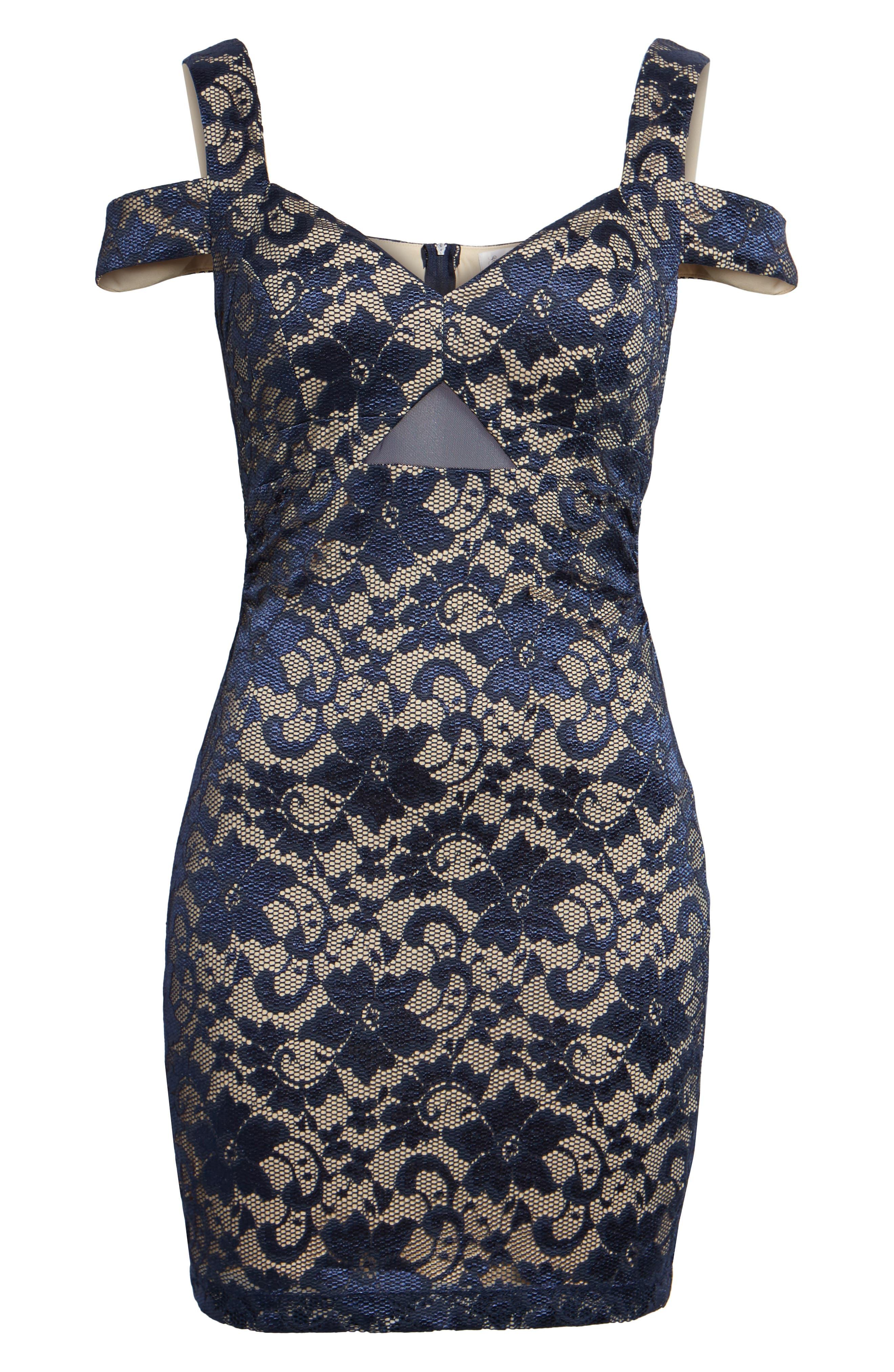 Lace Cold Shoulder Body-Con Dress,                             Alternate thumbnail 6, color,                             400