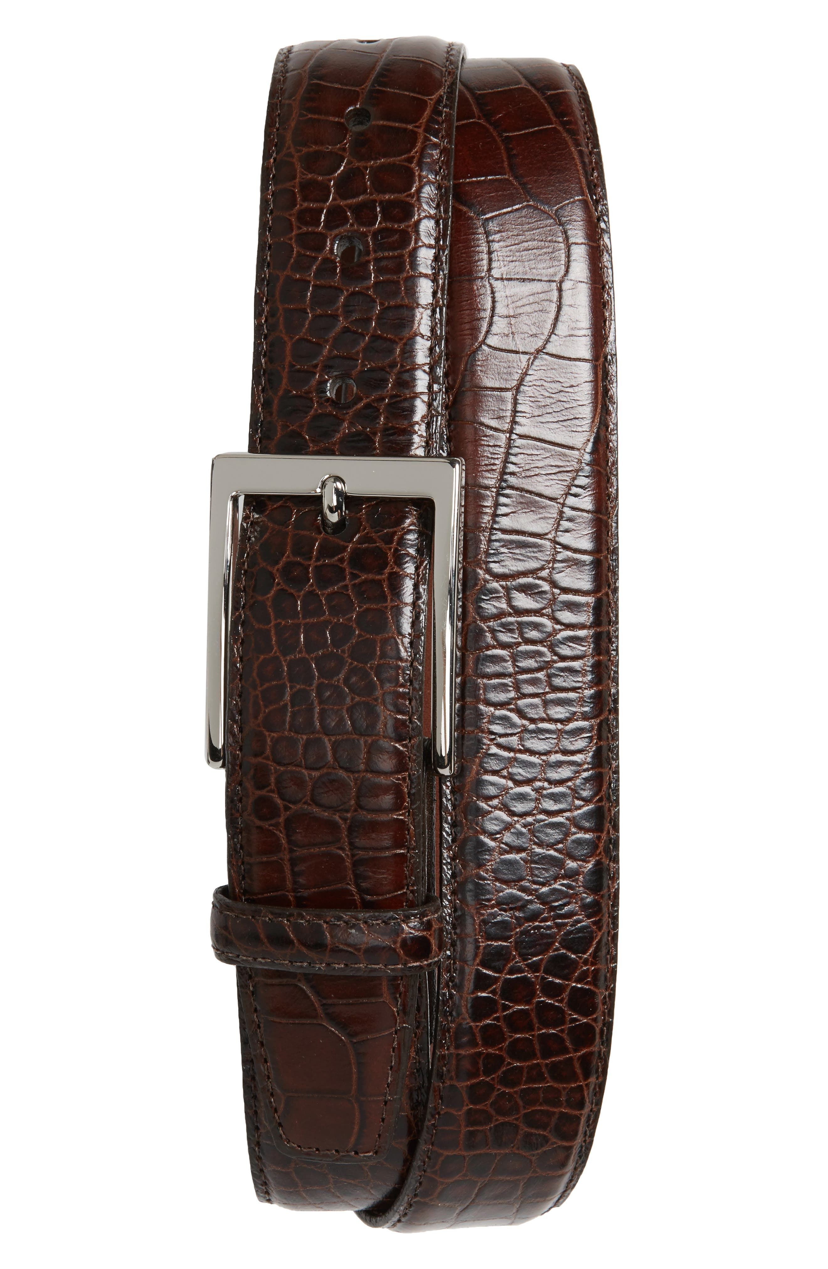 Gator Grain Embossed Leather Belt,                         Main,                         color, BROWN