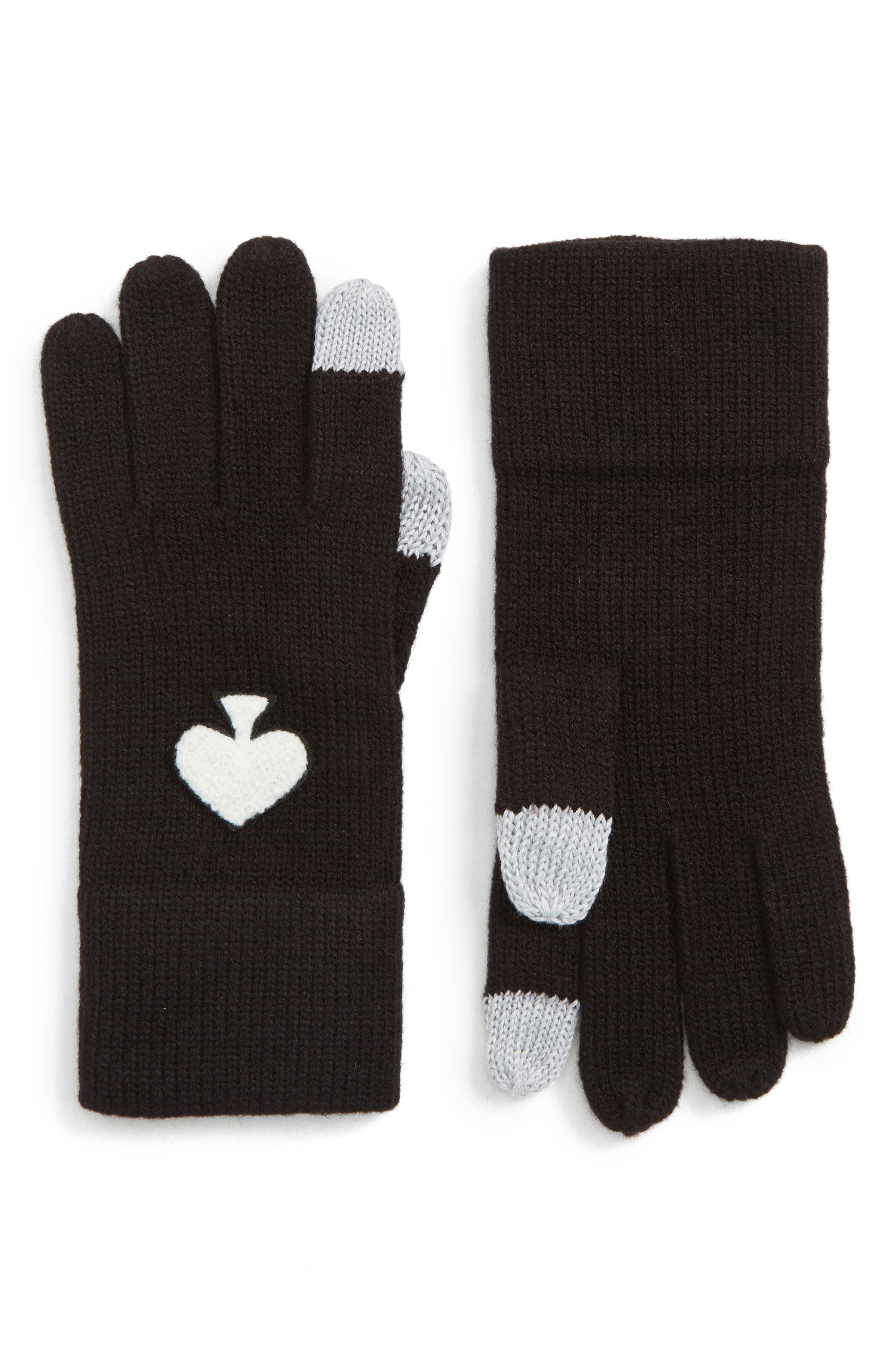solid spade gloves,                             Main thumbnail 1, color,                             BLACK/ CREAM