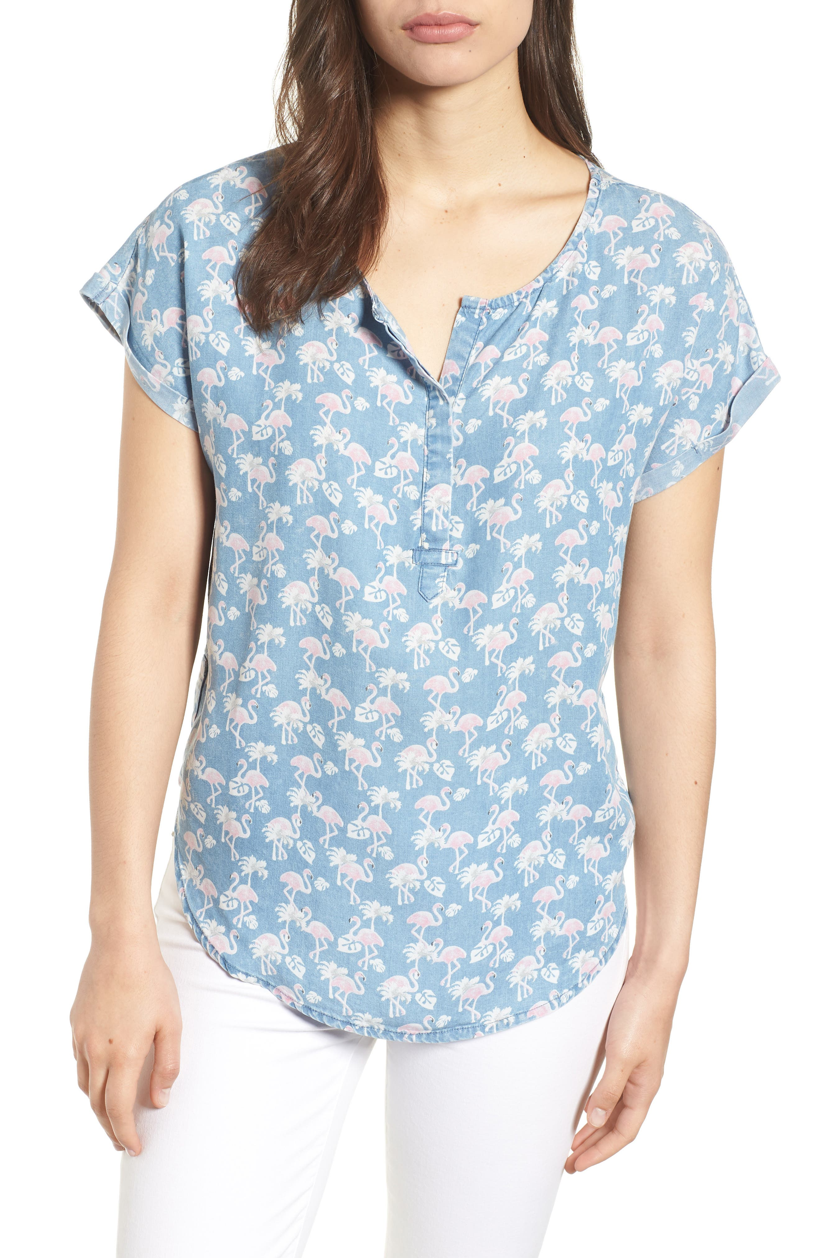 Flamingo Lace-Up Back Popover Top,                             Main thumbnail 1, color,                             422