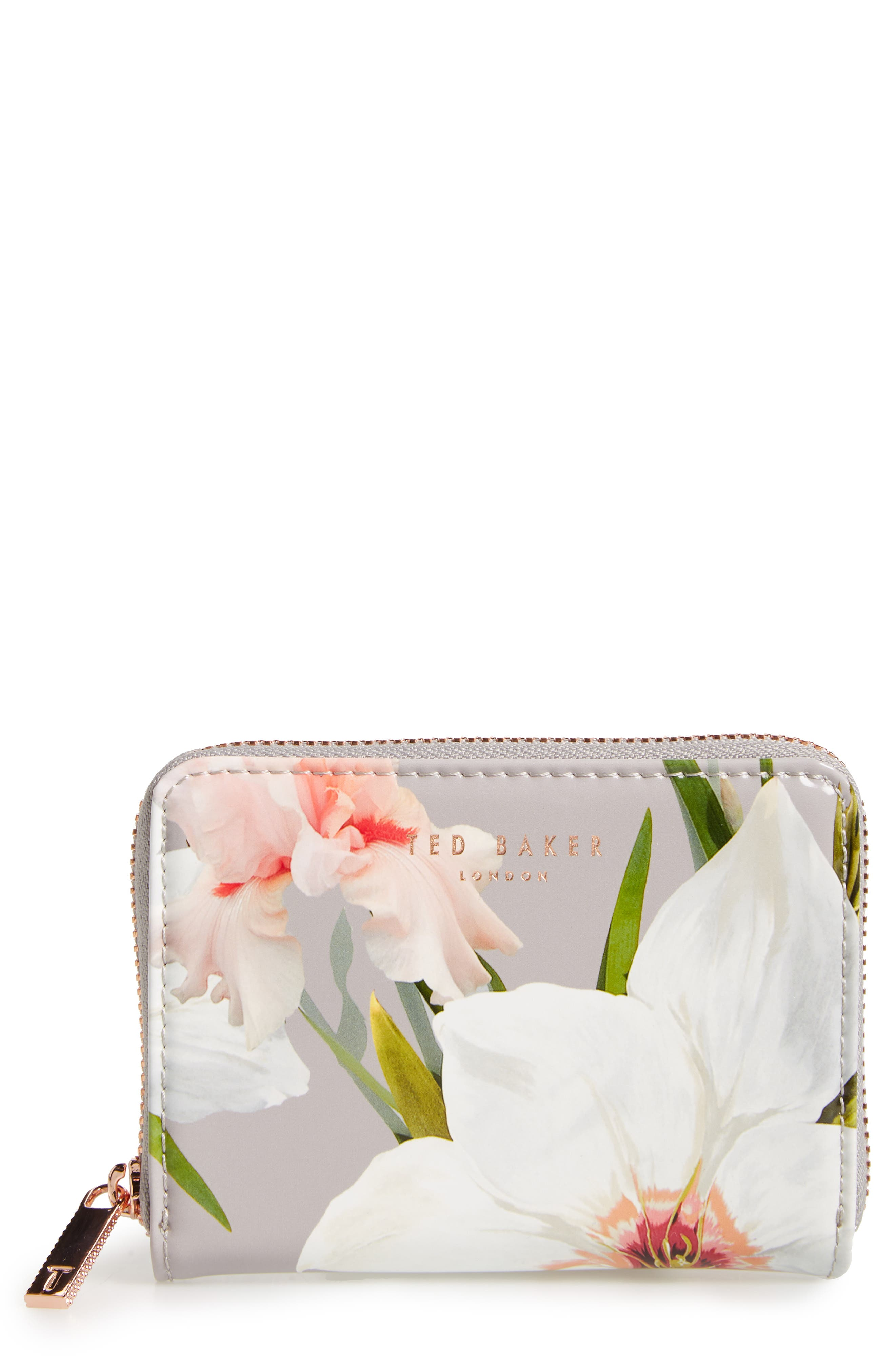 Vallie Chatsworth Bloom Leather Zip Coin Purse,                             Main thumbnail 1, color,                             020