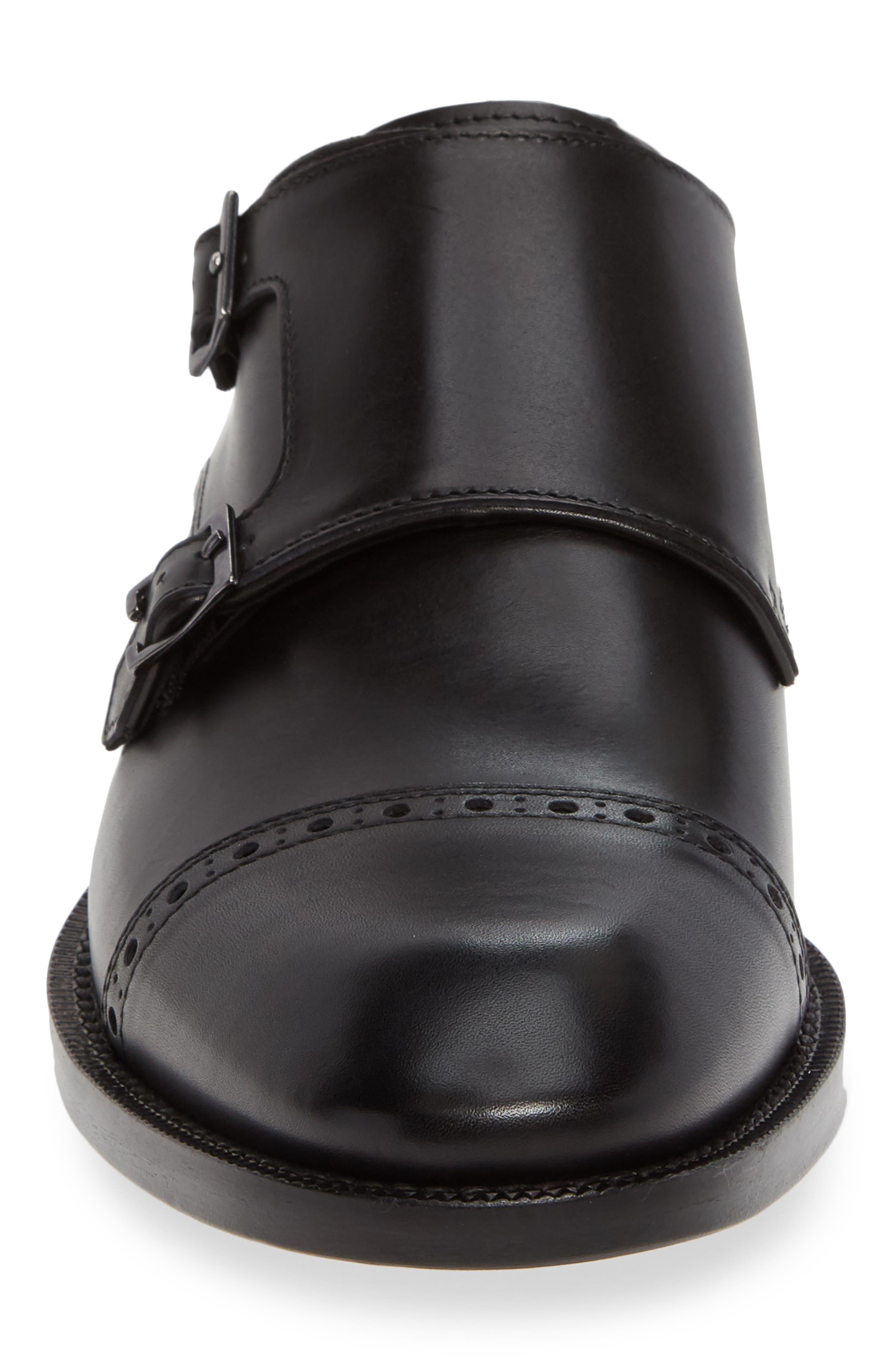 Caravaggio Double Monk Strap Shoe,                             Alternate thumbnail 4, color,                             BLACK LEATHER