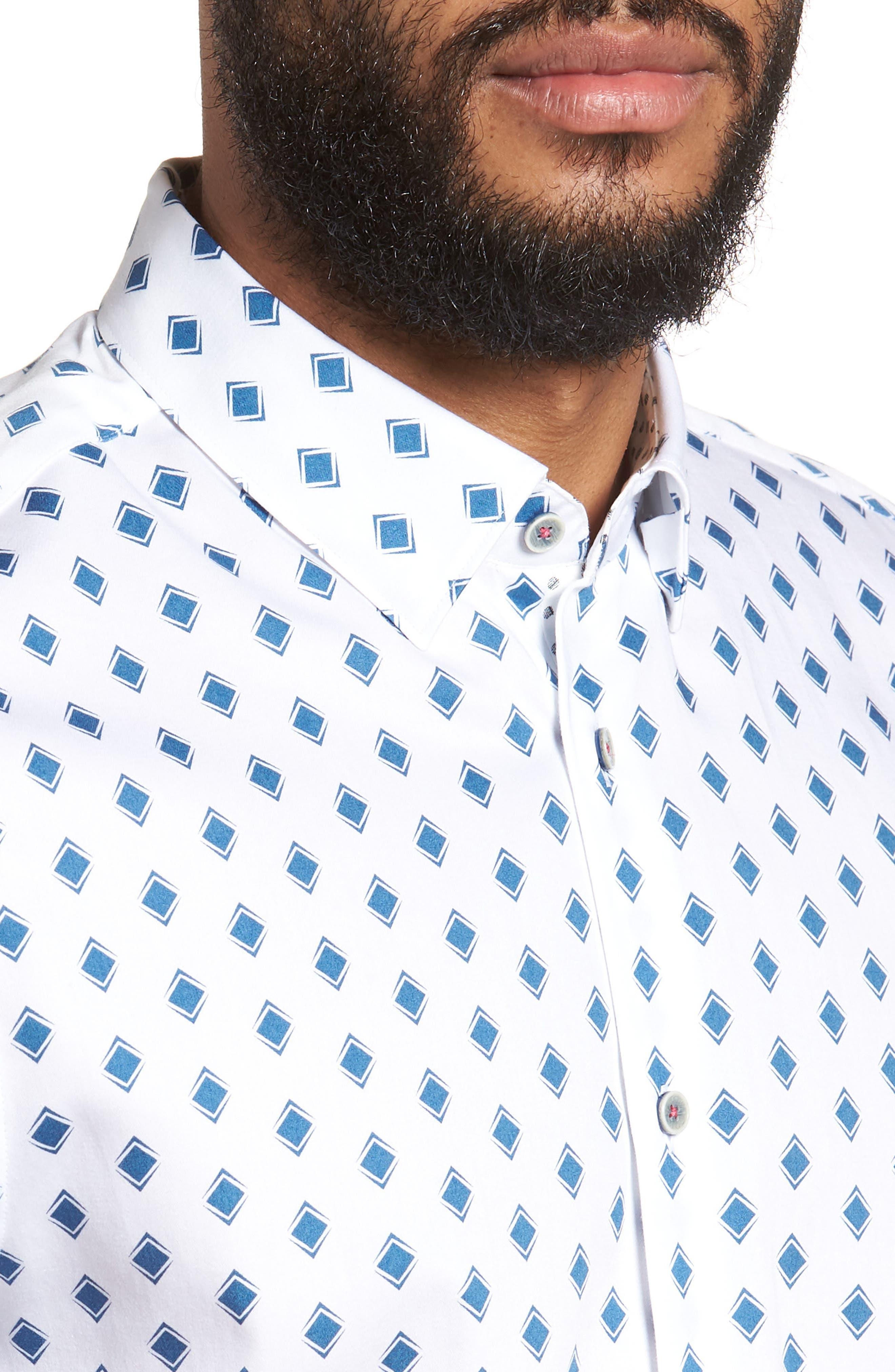 Sineral Trim Fit Short Sleeve Sport Shirt,                             Alternate thumbnail 4, color,                             100