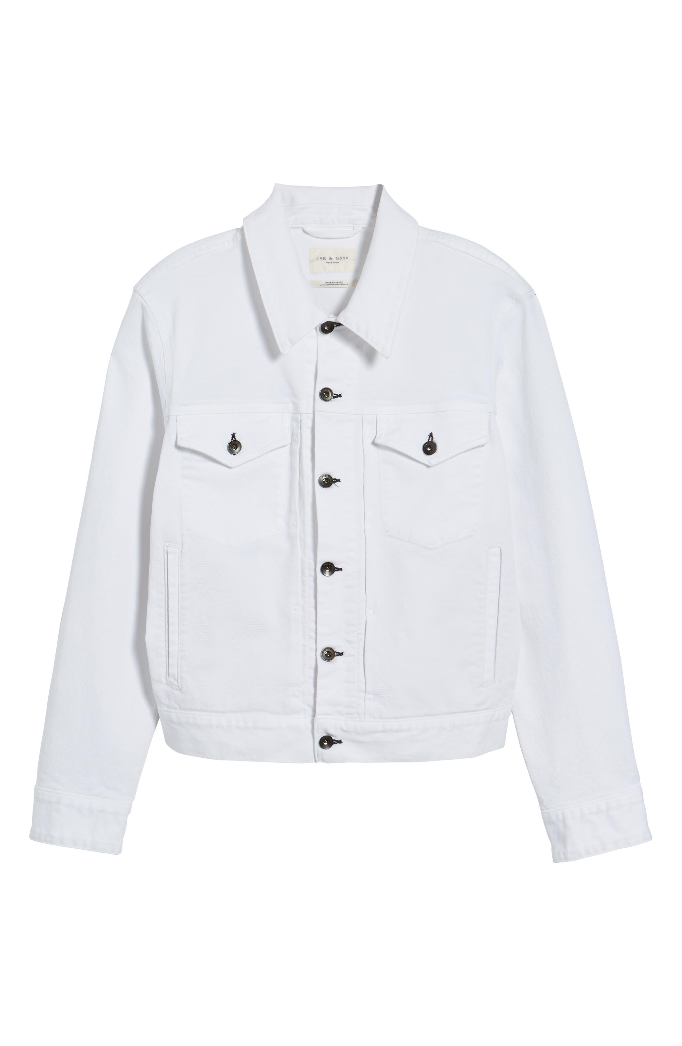 Denim Jacket,                             Alternate thumbnail 5, color,                             WHITE