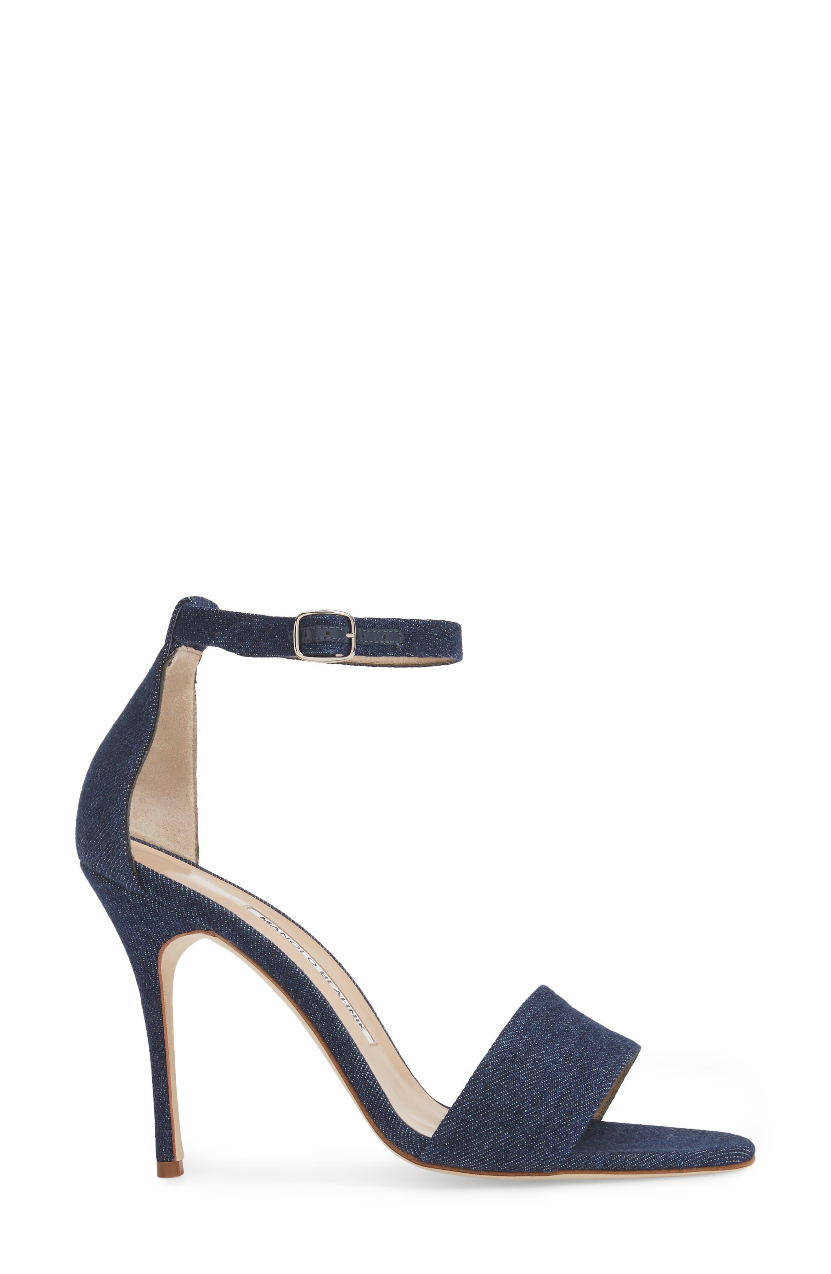 Tres Ankle Strap Sandal,                             Alternate thumbnail 3, color,                             DENIM BLUE