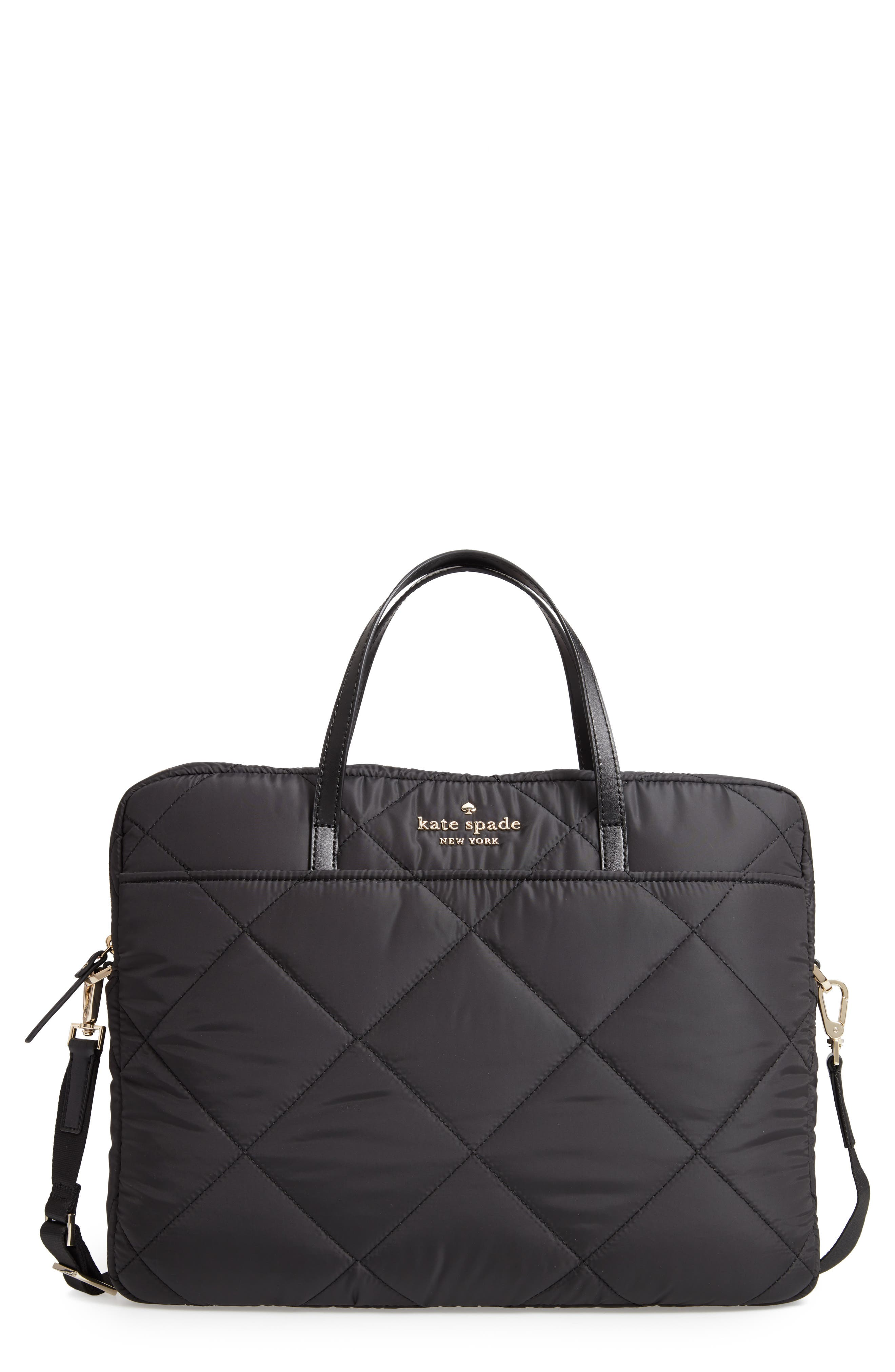 quilted nylon universal laptop commuter bag,                         Main,                         color, BLACK
