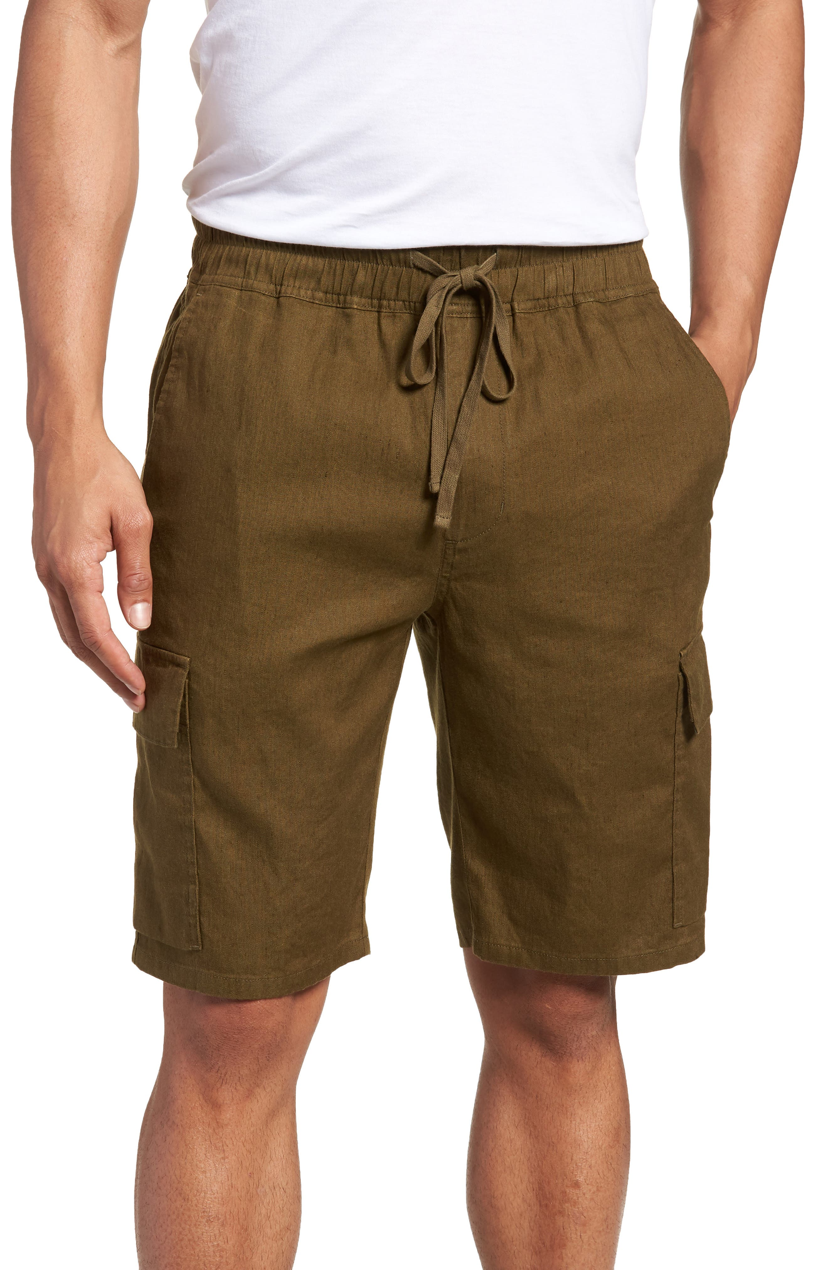 Vince Stretch Linen & Cotton Cargo Shorts, Green
