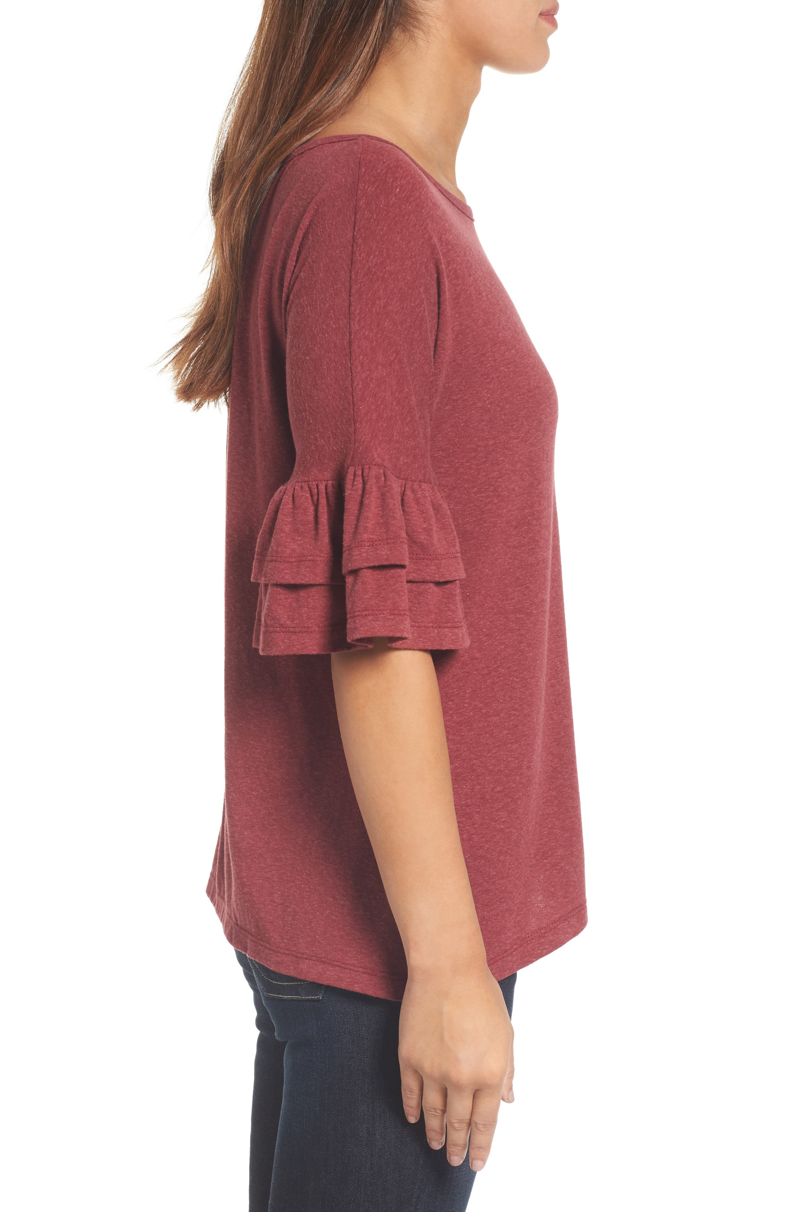 Tiered Bell Sleeve Tee,                             Alternate thumbnail 3, color,                             600