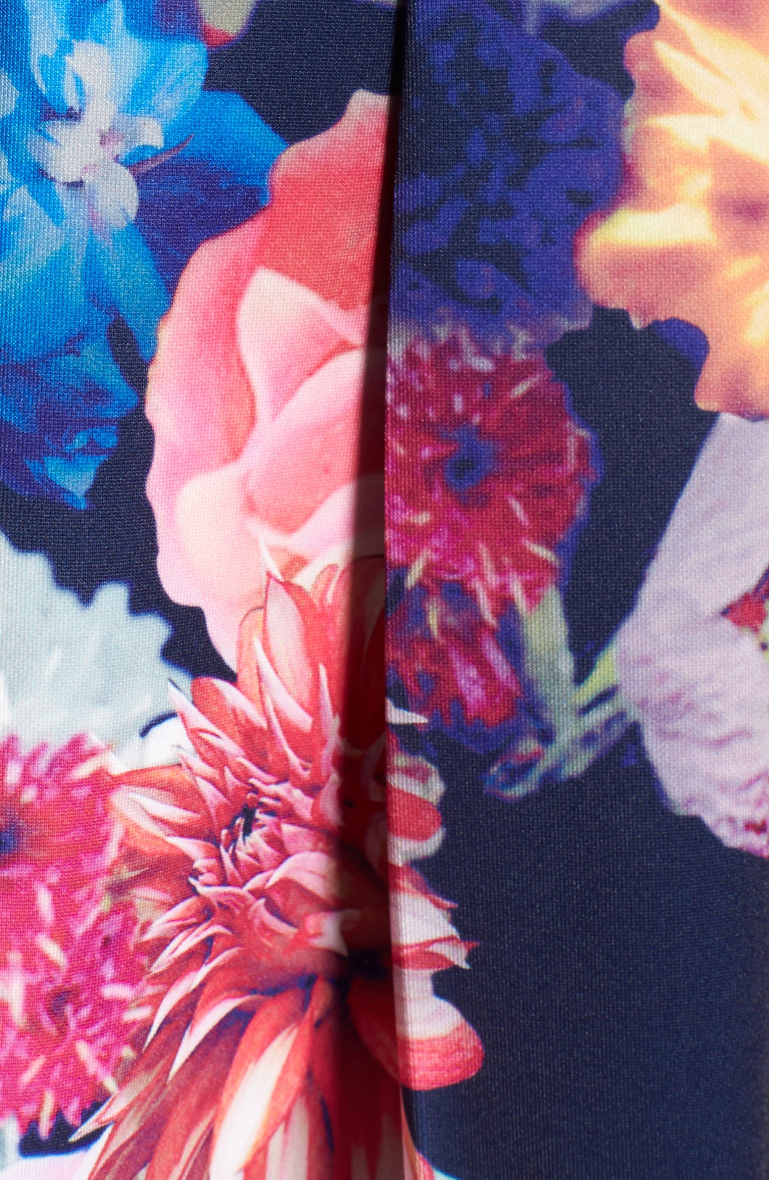 Keyhole Mixed Media Party Dress,                             Alternate thumbnail 5, color,                             484