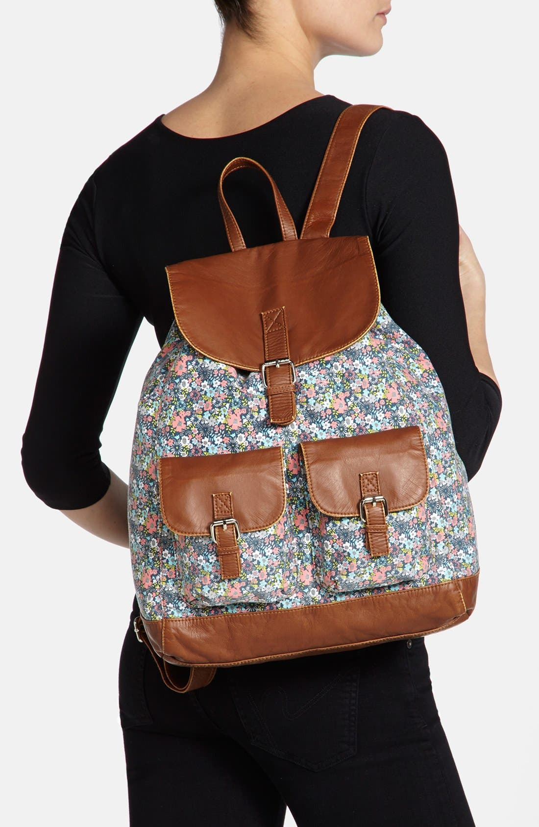 Faux Leather Trim Floral Backpack,                             Alternate thumbnail 3, color,