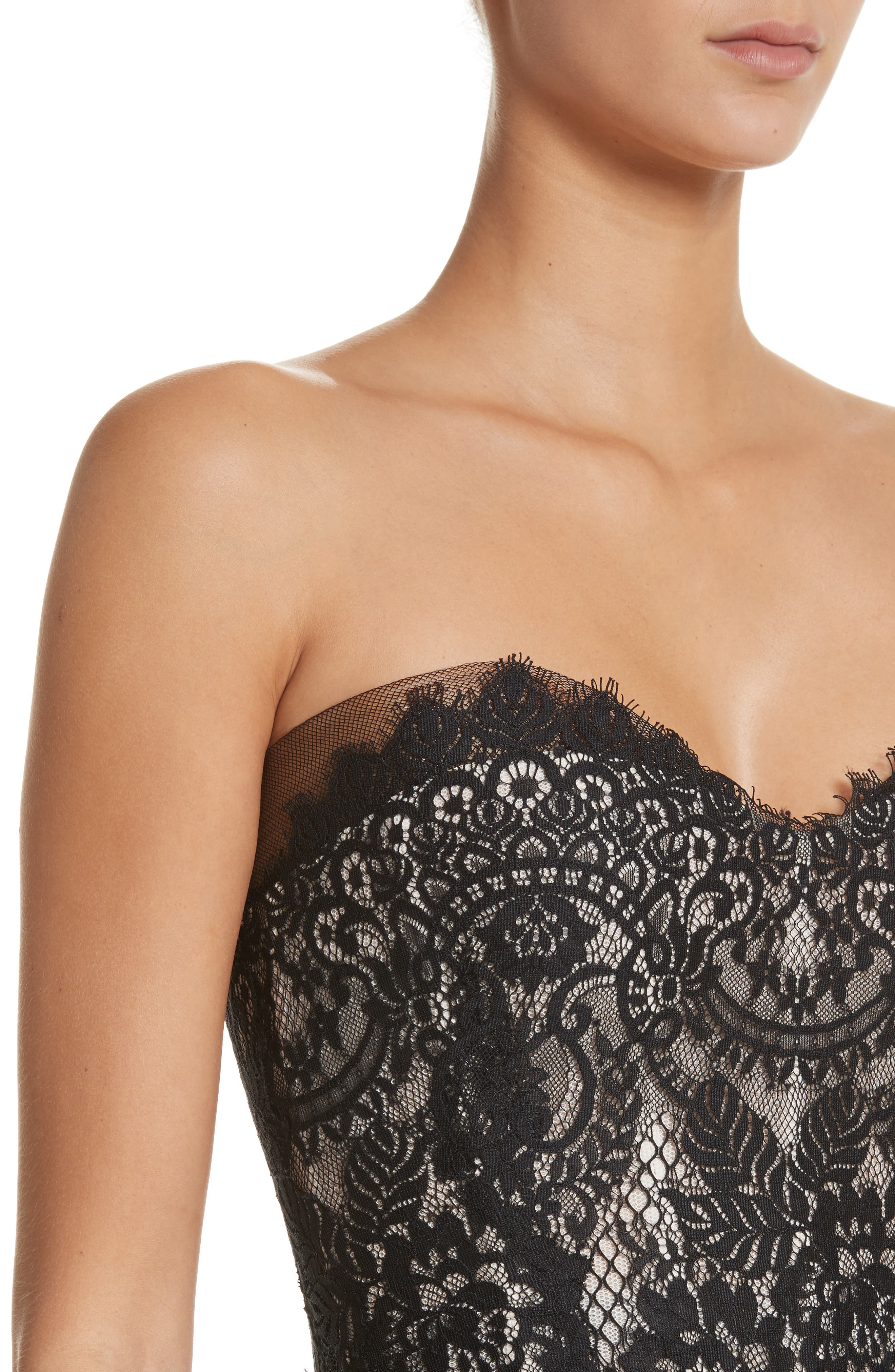 Strapless Peplum Lace Gown,                             Alternate thumbnail 4, color,