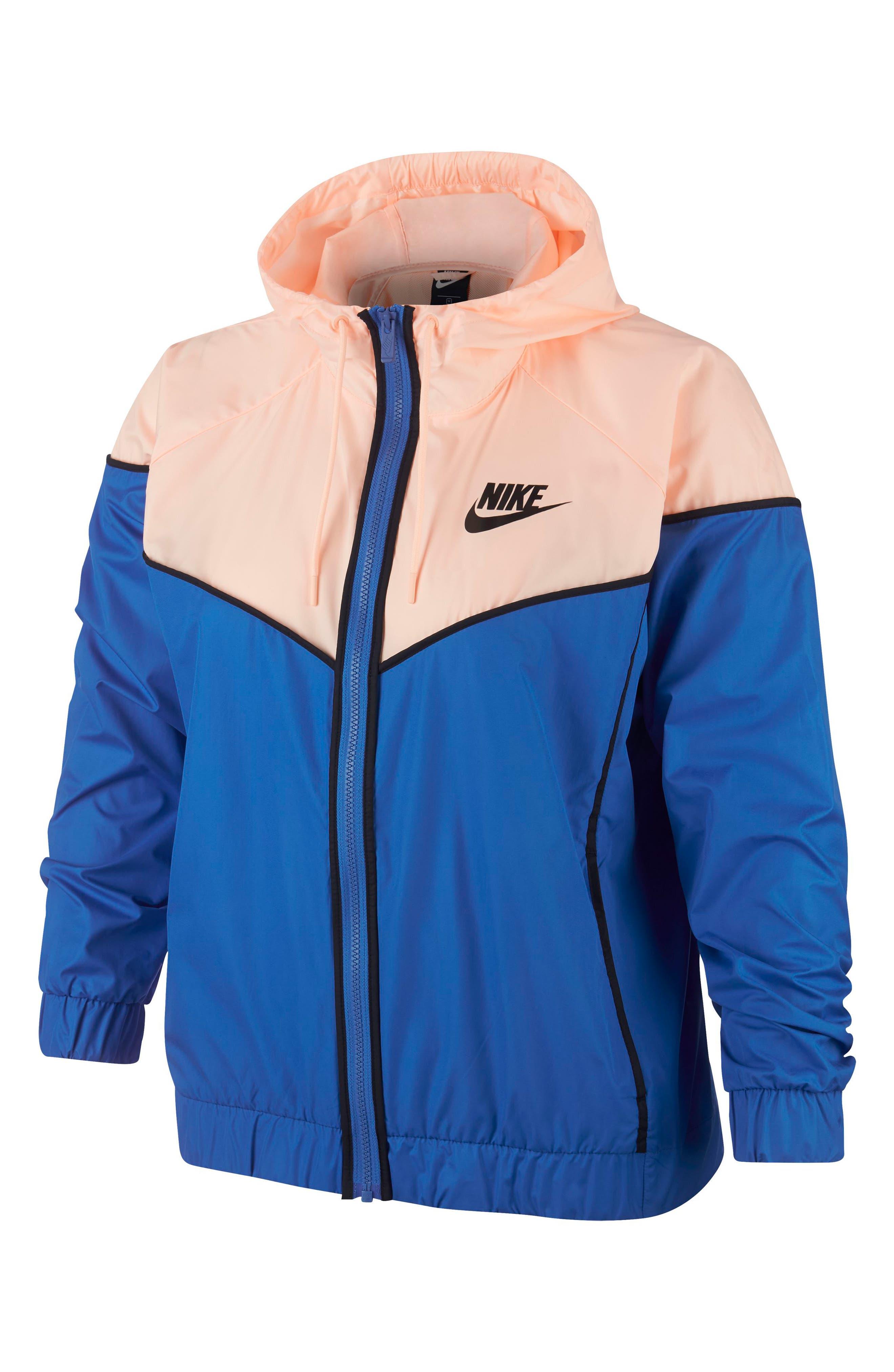 Sportswear Windrunner Jacket,                             Main thumbnail 1, color,                             SIGNAL BLUE/ CRIMSON TINT