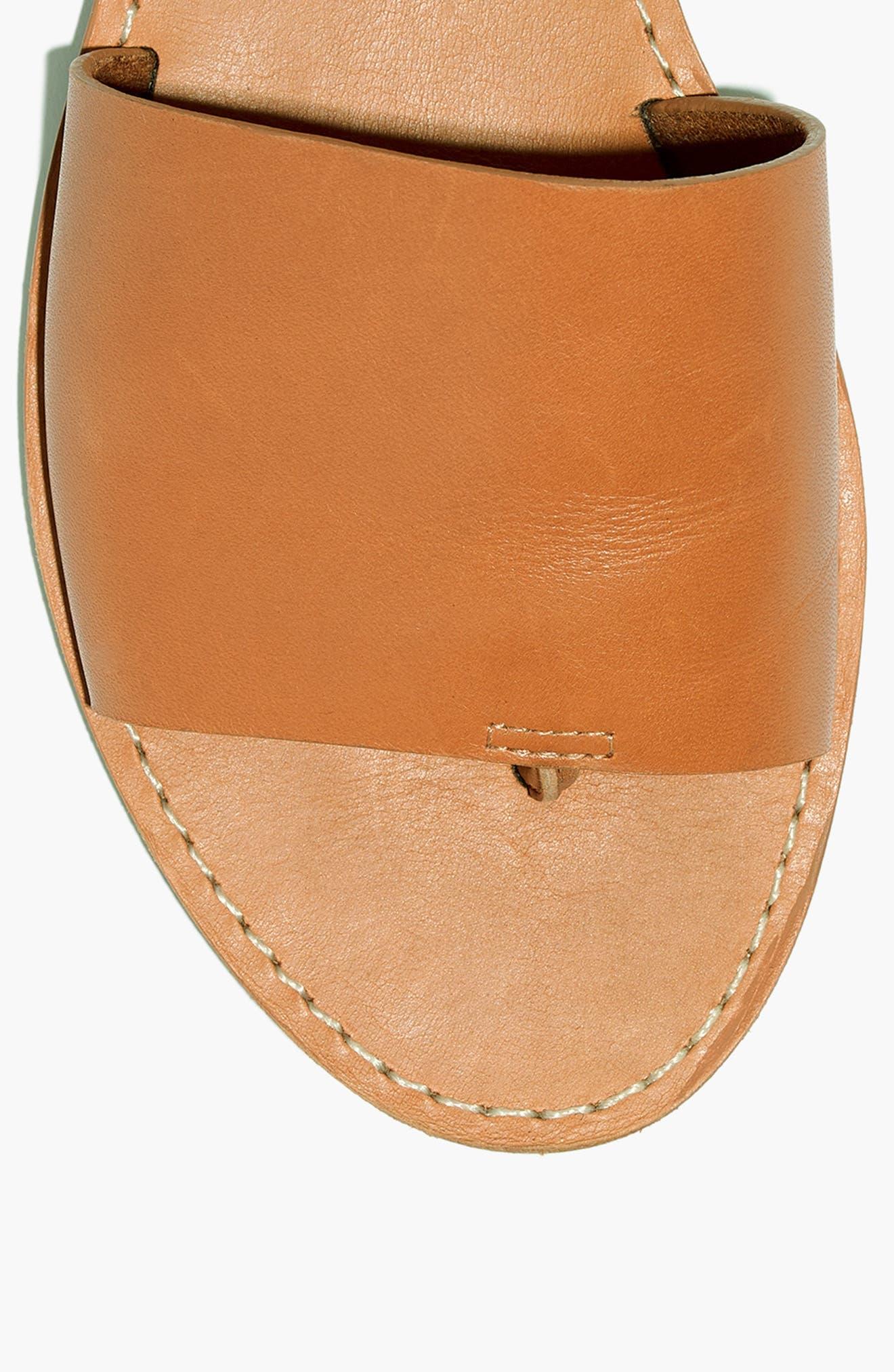 Boardwalk Post Slide Sandal,                             Alternate thumbnail 3, color,                             DESERT CAMEL LEATHER