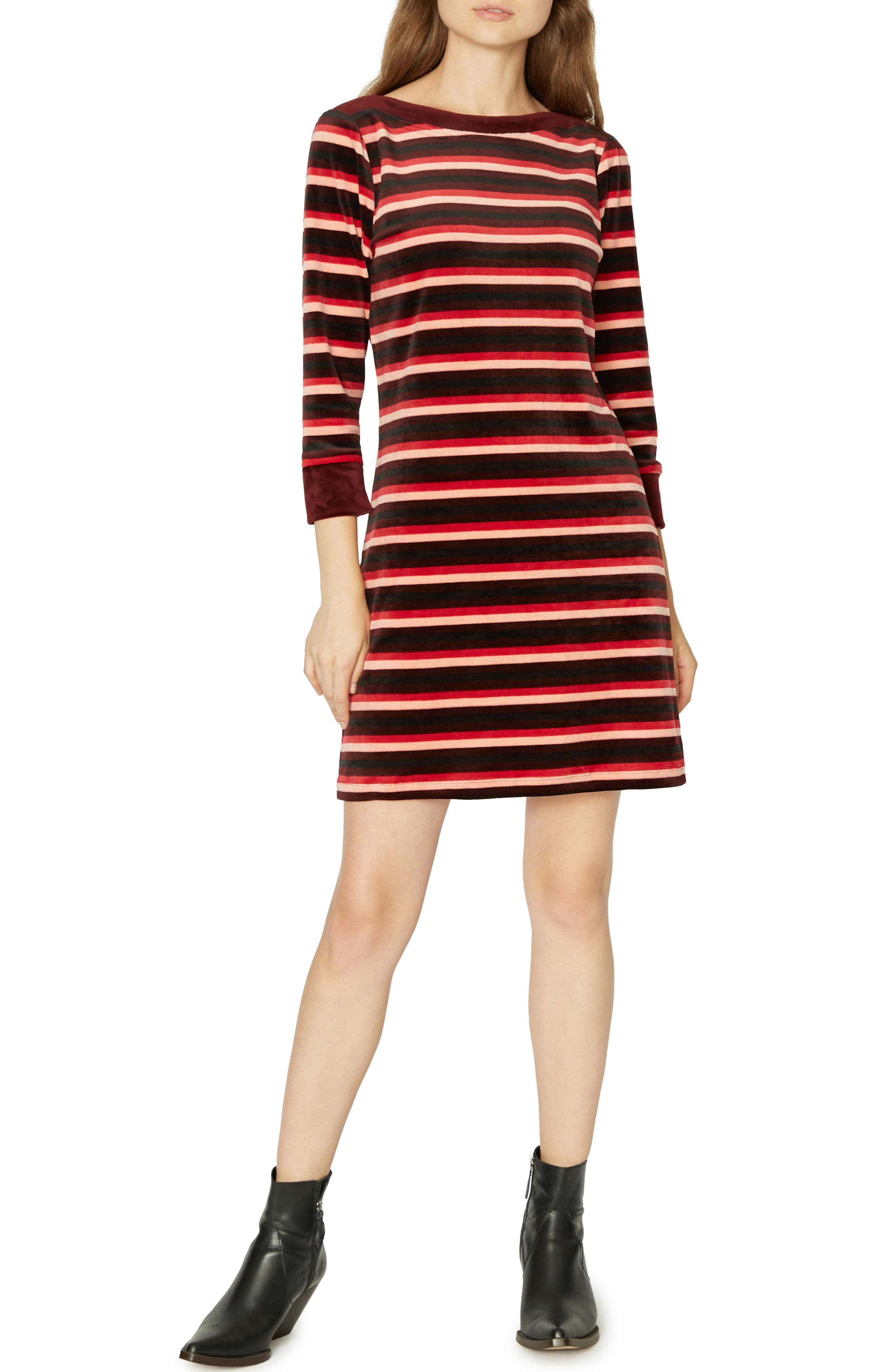 Sanctuary Katia Stripe Dress, Burgundy