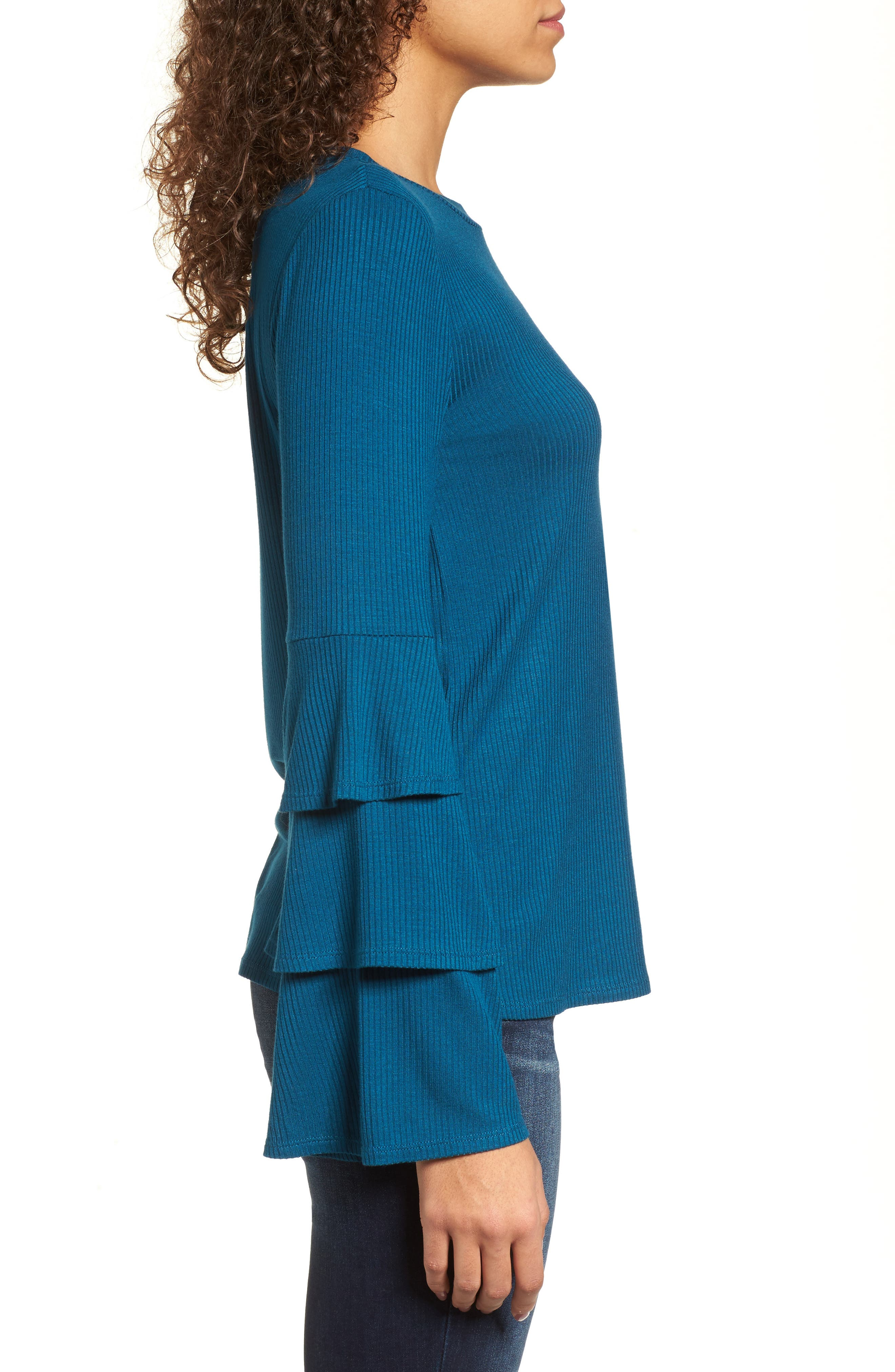 Ruffle Sleeve Ribbed Sweater,                             Alternate thumbnail 11, color,