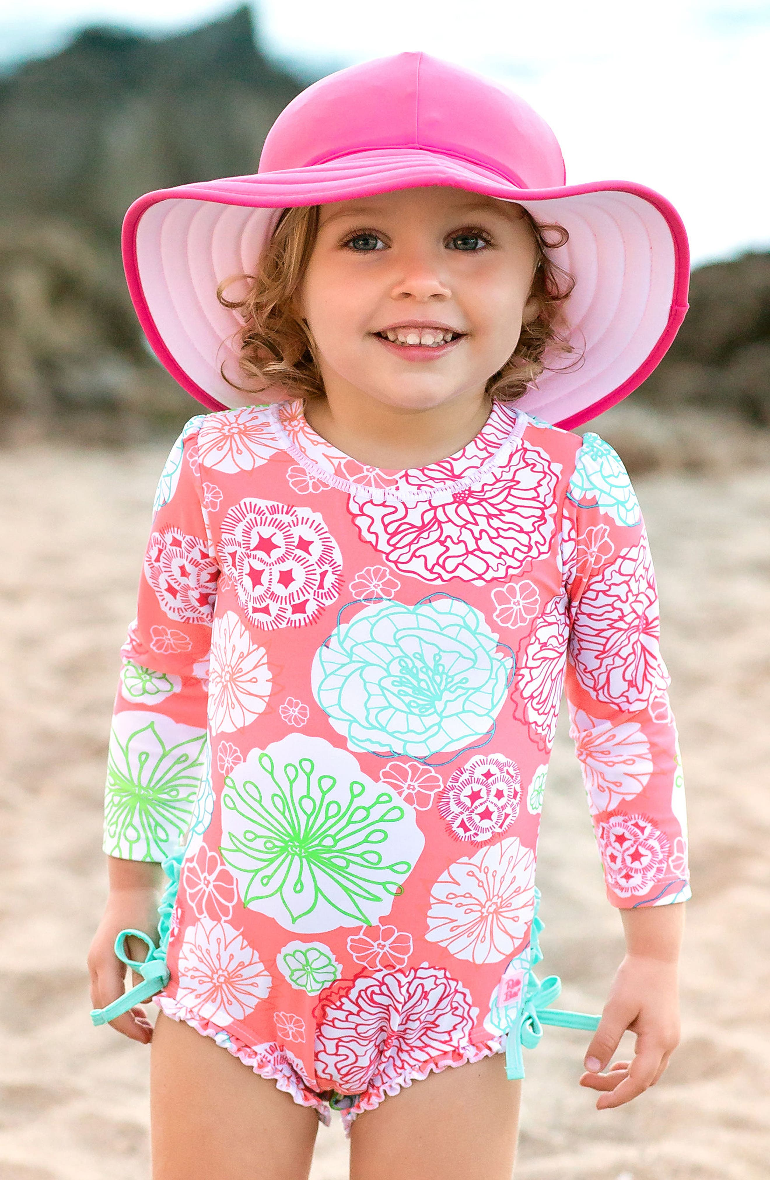 Tropical Garden One-Piece Rashguard Swimsuit & Reversible Sun Hat Set,                             Alternate thumbnail 3, color,                             PINK