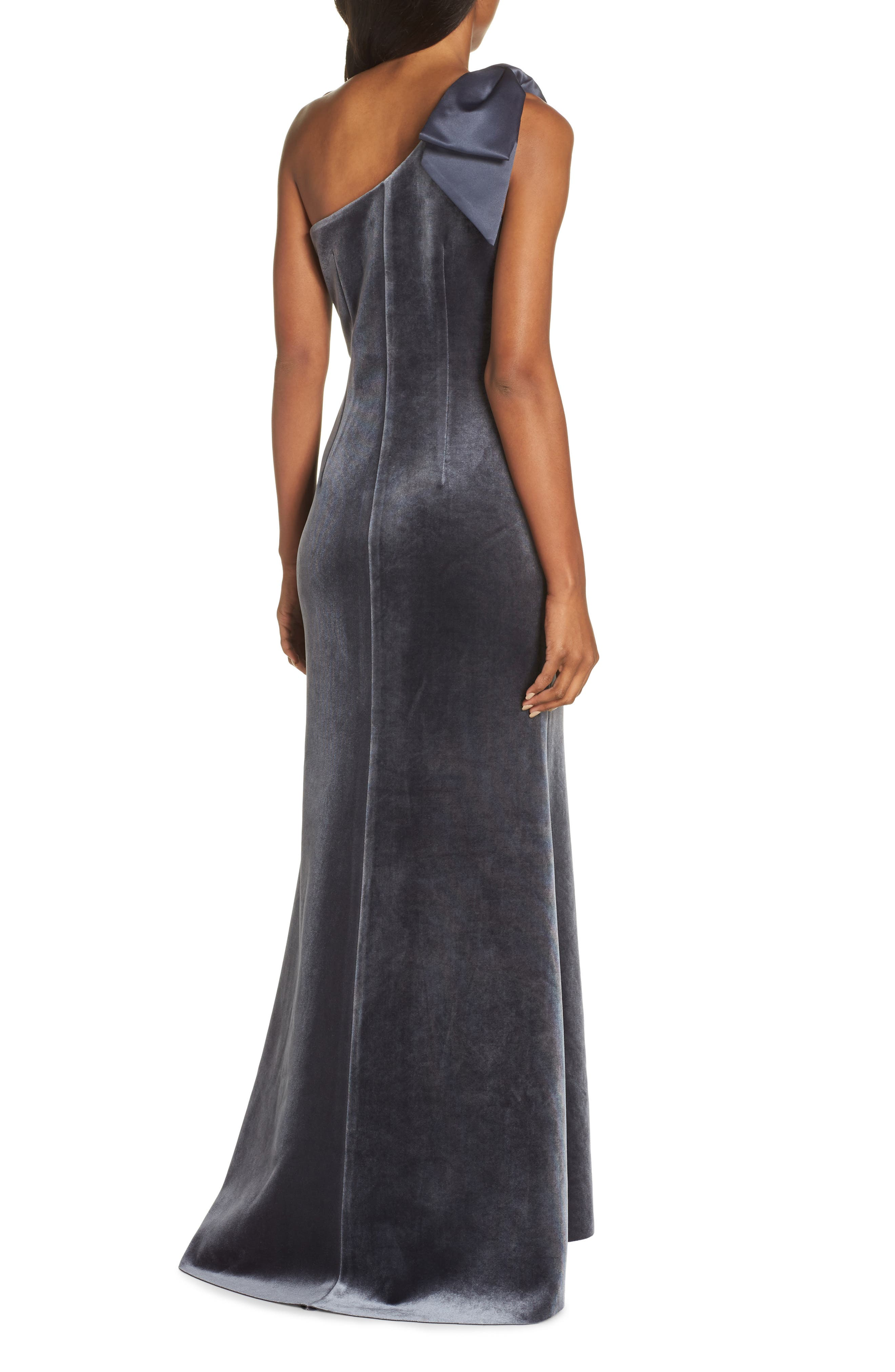 Bow One-Shoulder Velvet Gown,                             Alternate thumbnail 2, color,                             STEEL