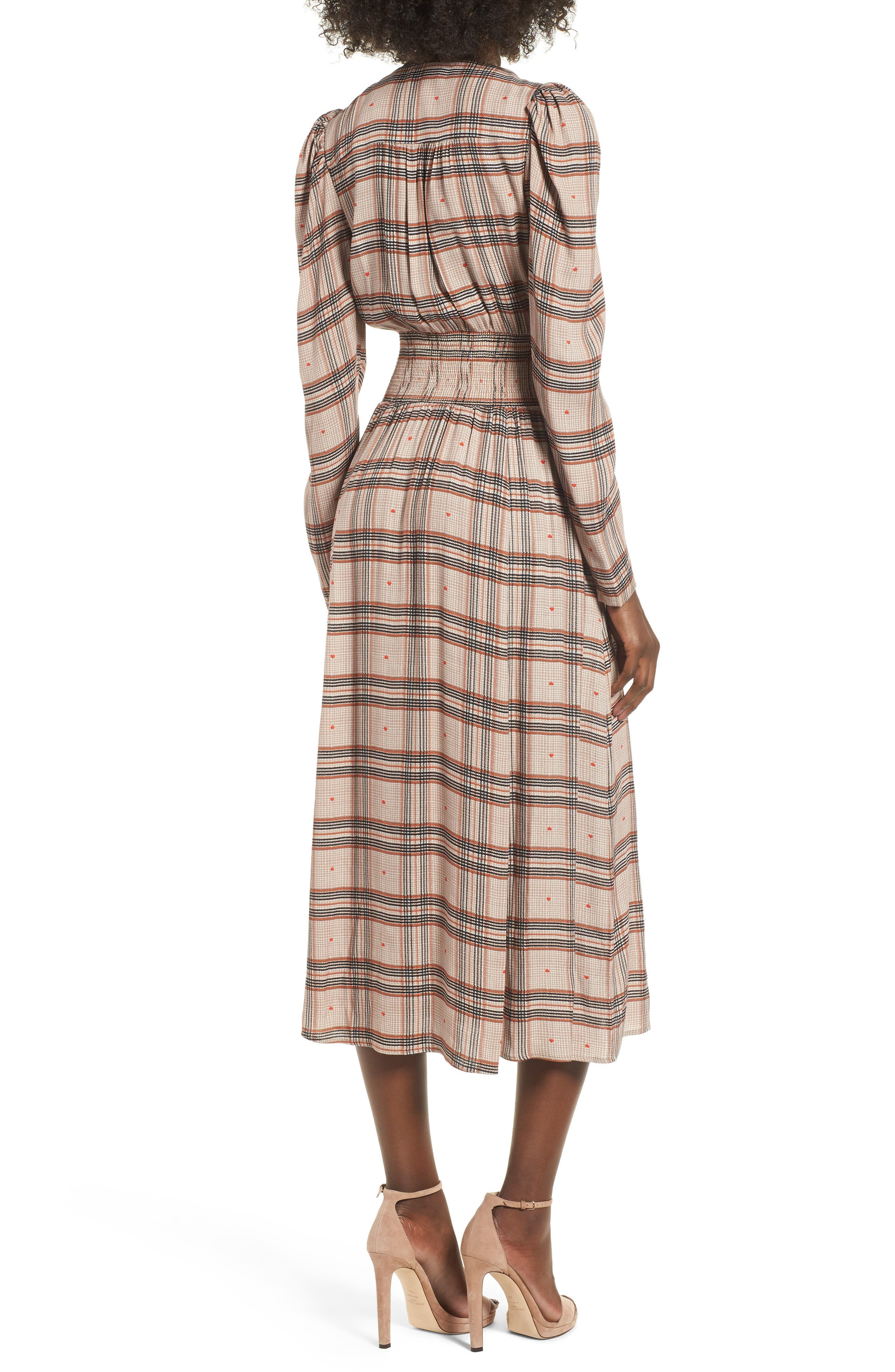 Quinn Wrap Midi Dress,                             Alternate thumbnail 2, color,                             PLAID WITH HEART