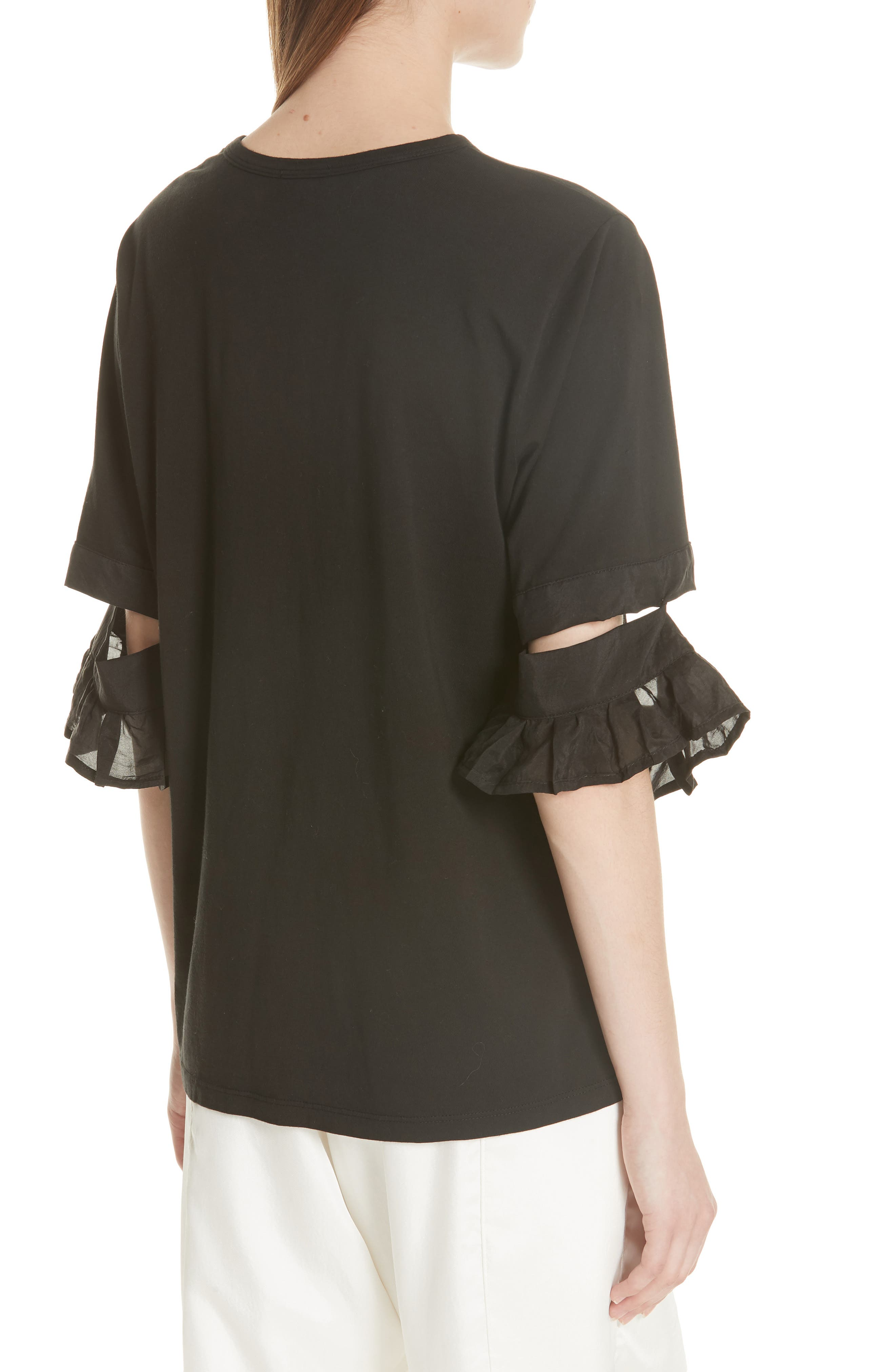 Open Sleeve Top,                             Alternate thumbnail 2, color,                             BLACK