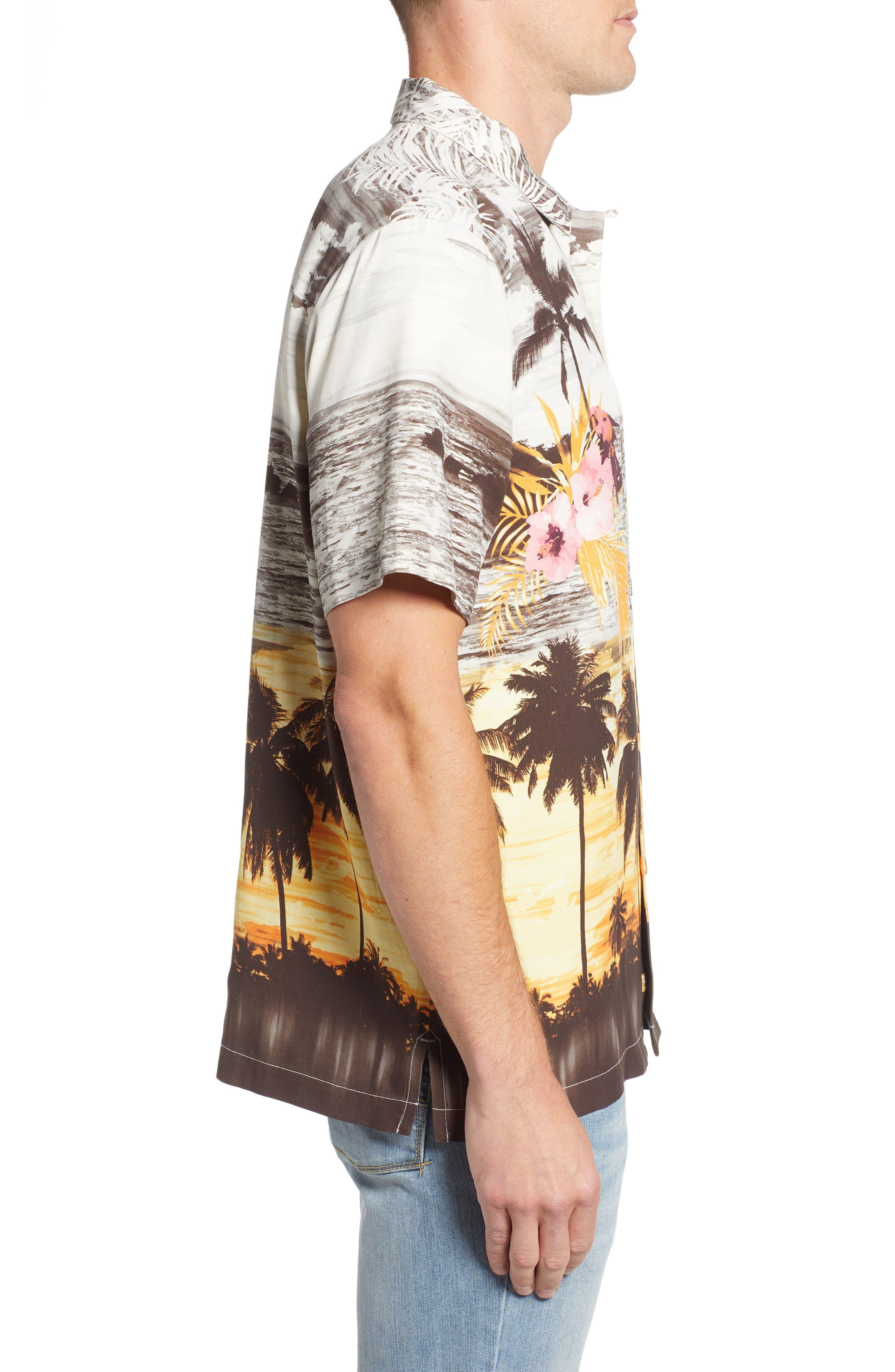 Sunset Serenade Silk Sport Shirt,                             Alternate thumbnail 3, color,                             SUNSET ORANGE