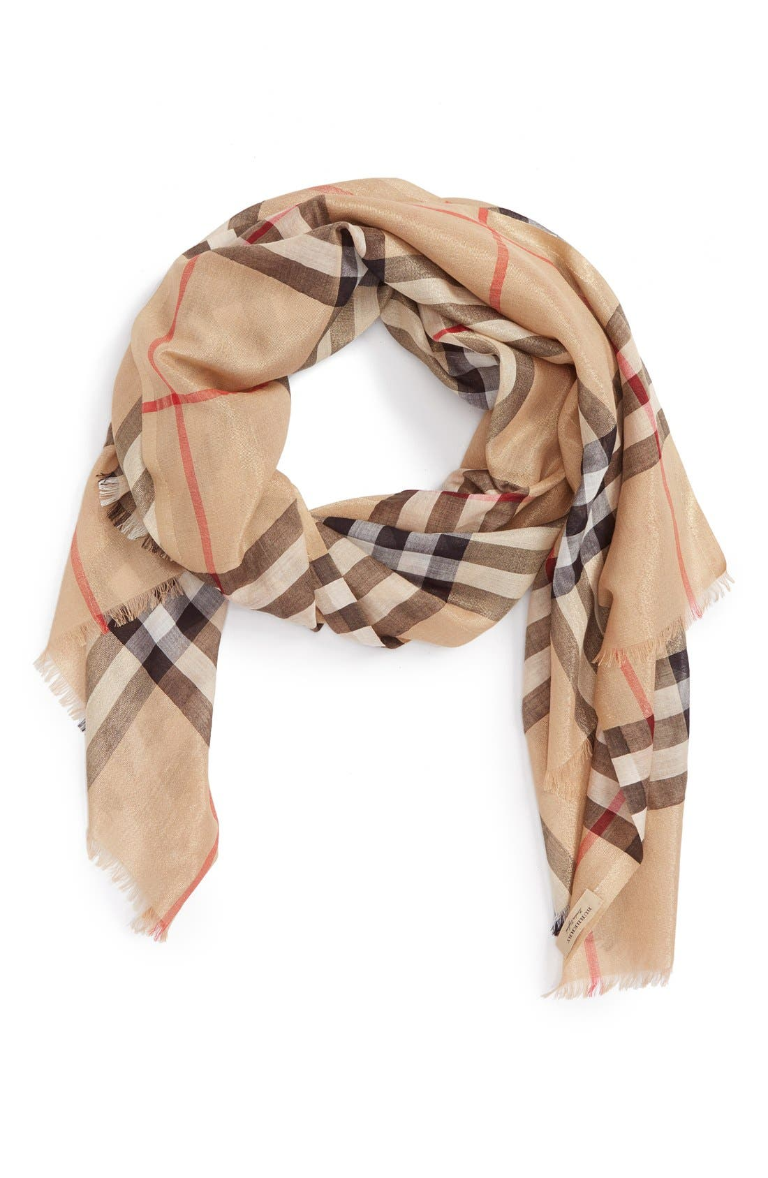 BURBERRY,                             Giant Check Scarf,                             Main thumbnail 1, color,                             250