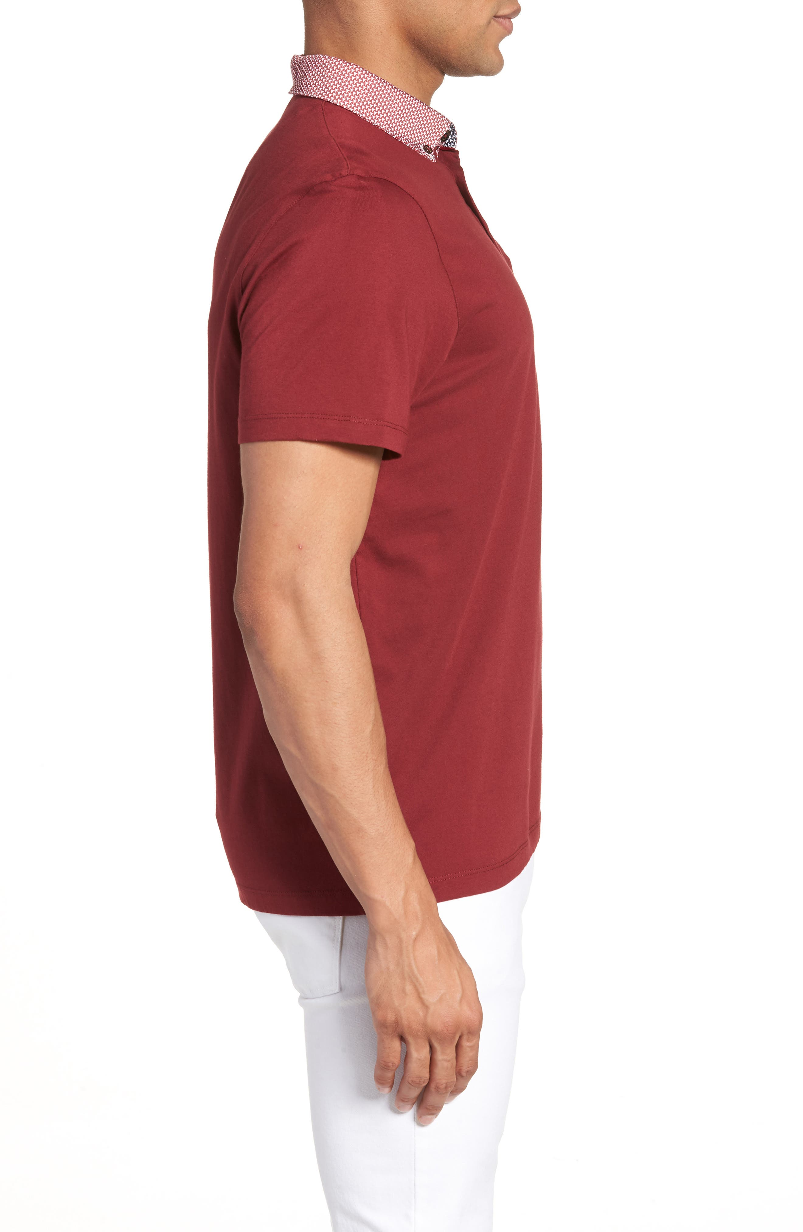 Movey Trim Fit Woven Geo Polo,                             Alternate thumbnail 12, color,