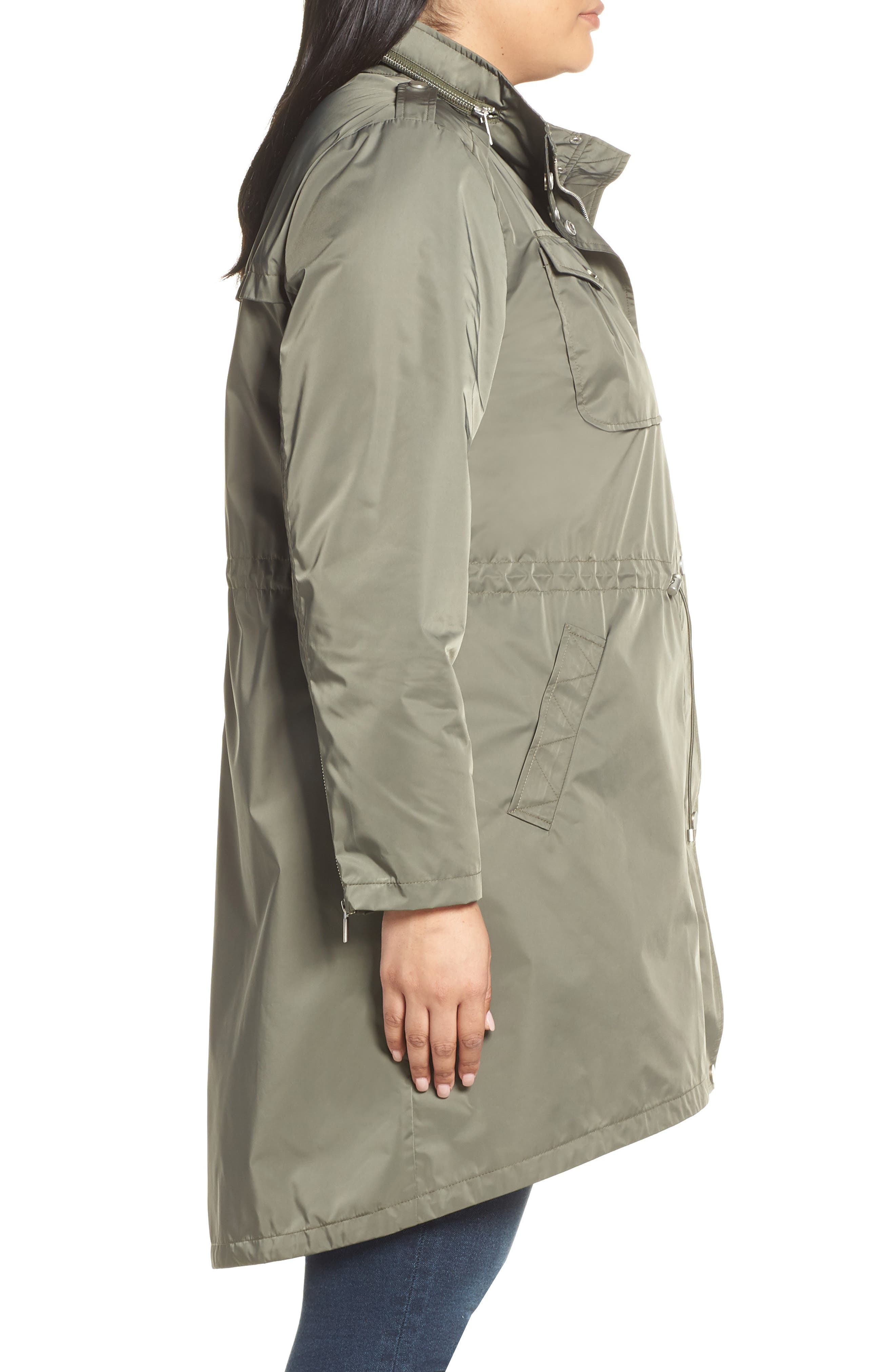 Badgley Mischka Dakota Raincoat,                             Alternate thumbnail 3, color,                             PALM