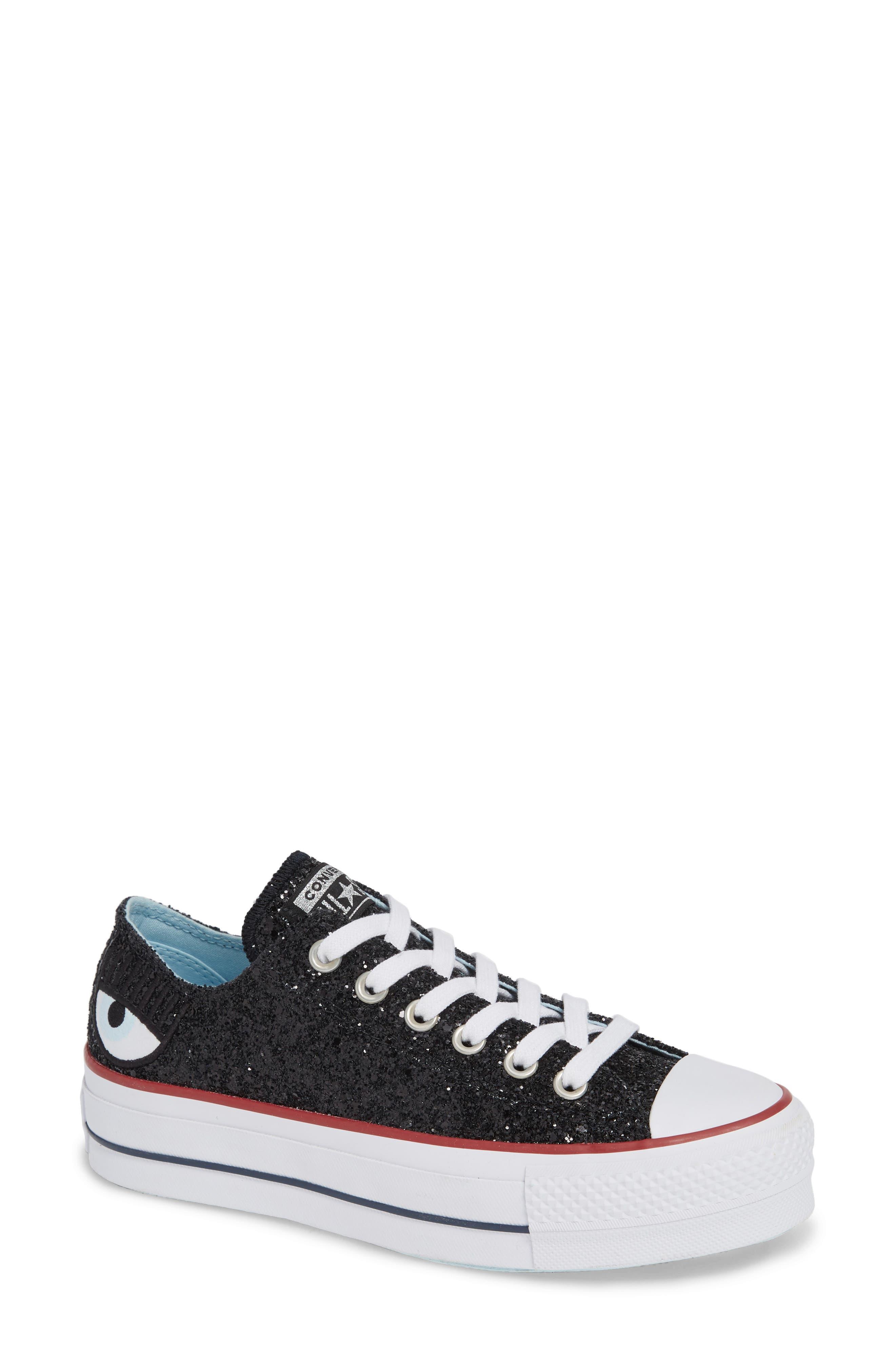 X Chiara Ferragni Women'S Chuck Taylor Low Top Sneakers in Black Glitter