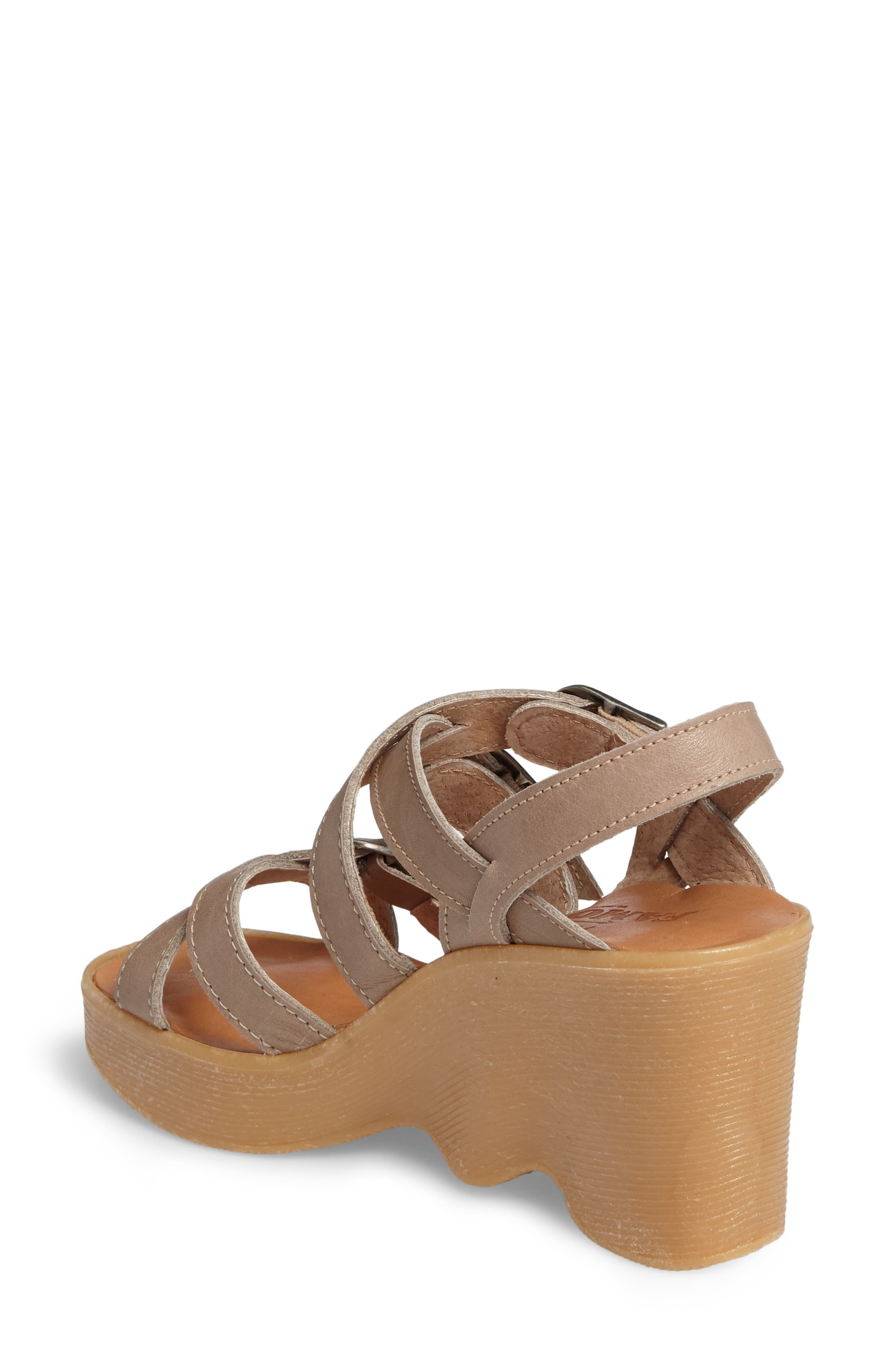 Buckle Up Wedge Sandal,                             Alternate thumbnail 2, color,                             SAND LEATHER