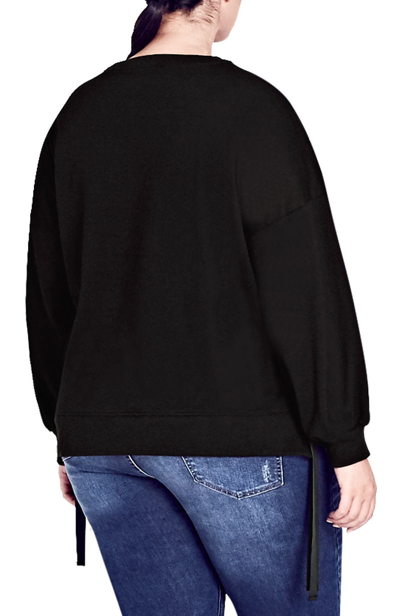 Ring Tie Stretch Cotton Top,                             Alternate thumbnail 2, color,                             001
