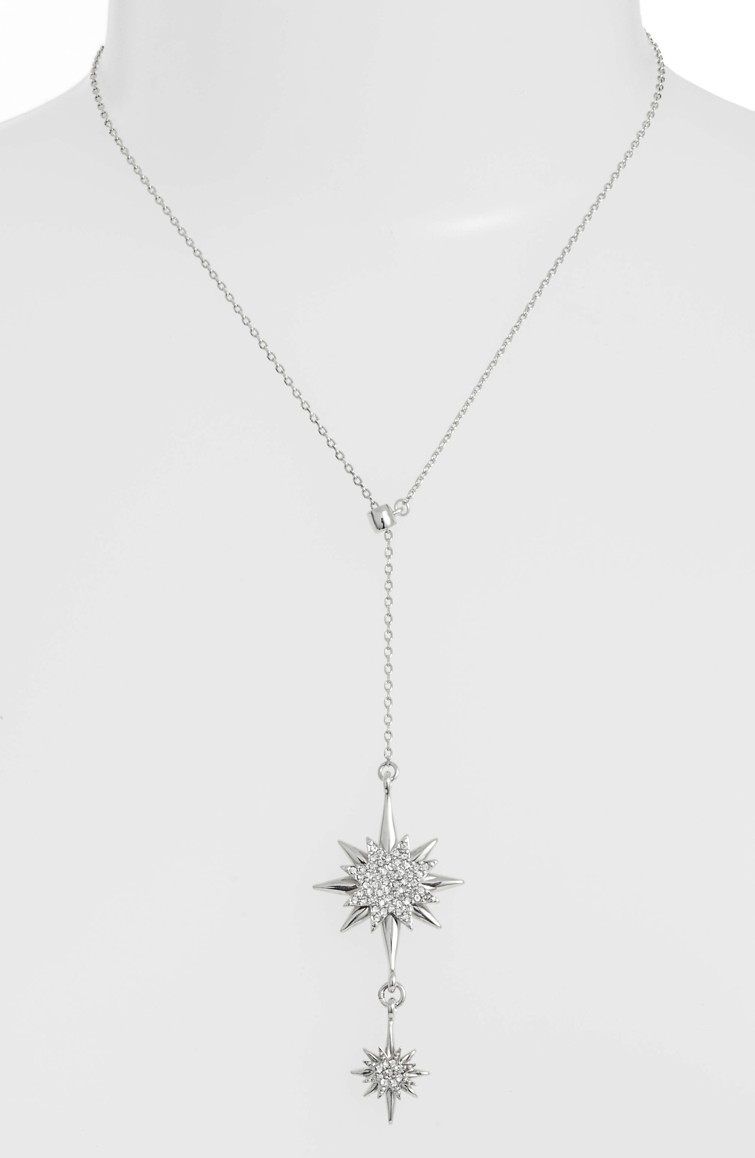 Crystal Starburst Lariat Necklace,                         Main,                         color, SILVER