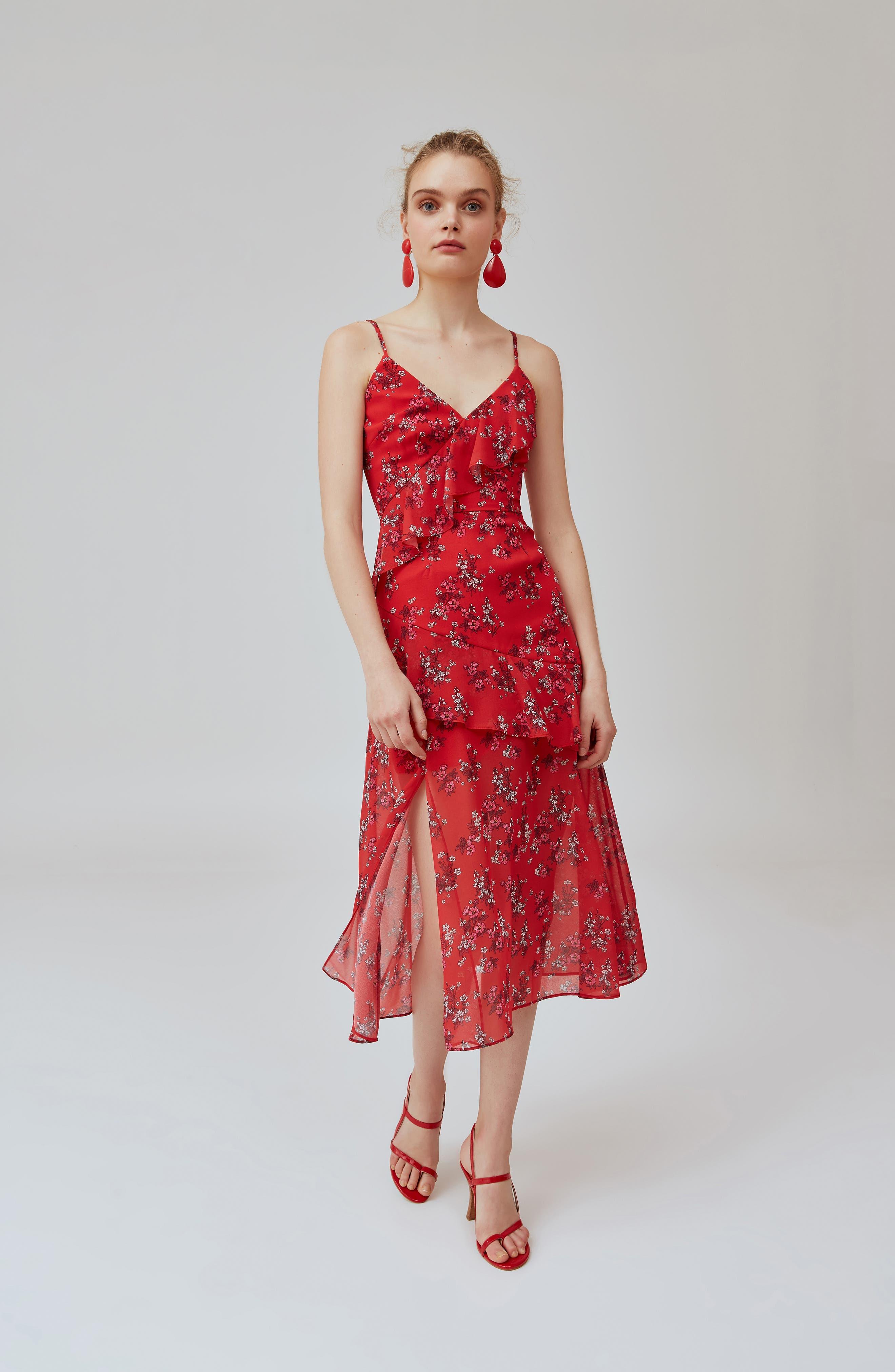 KEEPSAKE THE LABEL,                             Heart & Soul Ruffle Detail Tea Length Dress,                             Alternate thumbnail 8, color,                             SMALL RED FLORAL