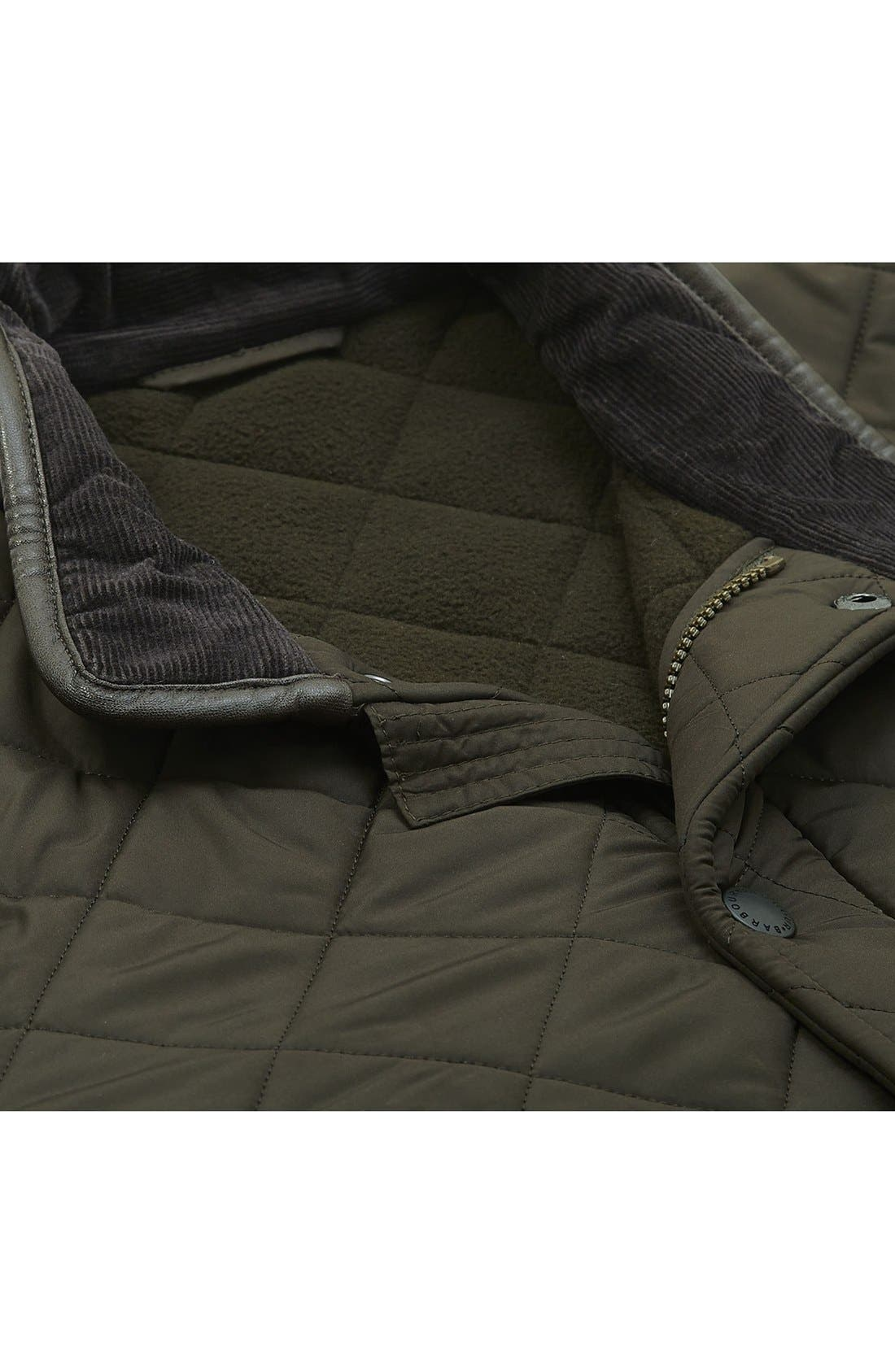 'Powell' Regular Fit Quilted Jacket,                             Alternate thumbnail 7, color,                             OLIVE