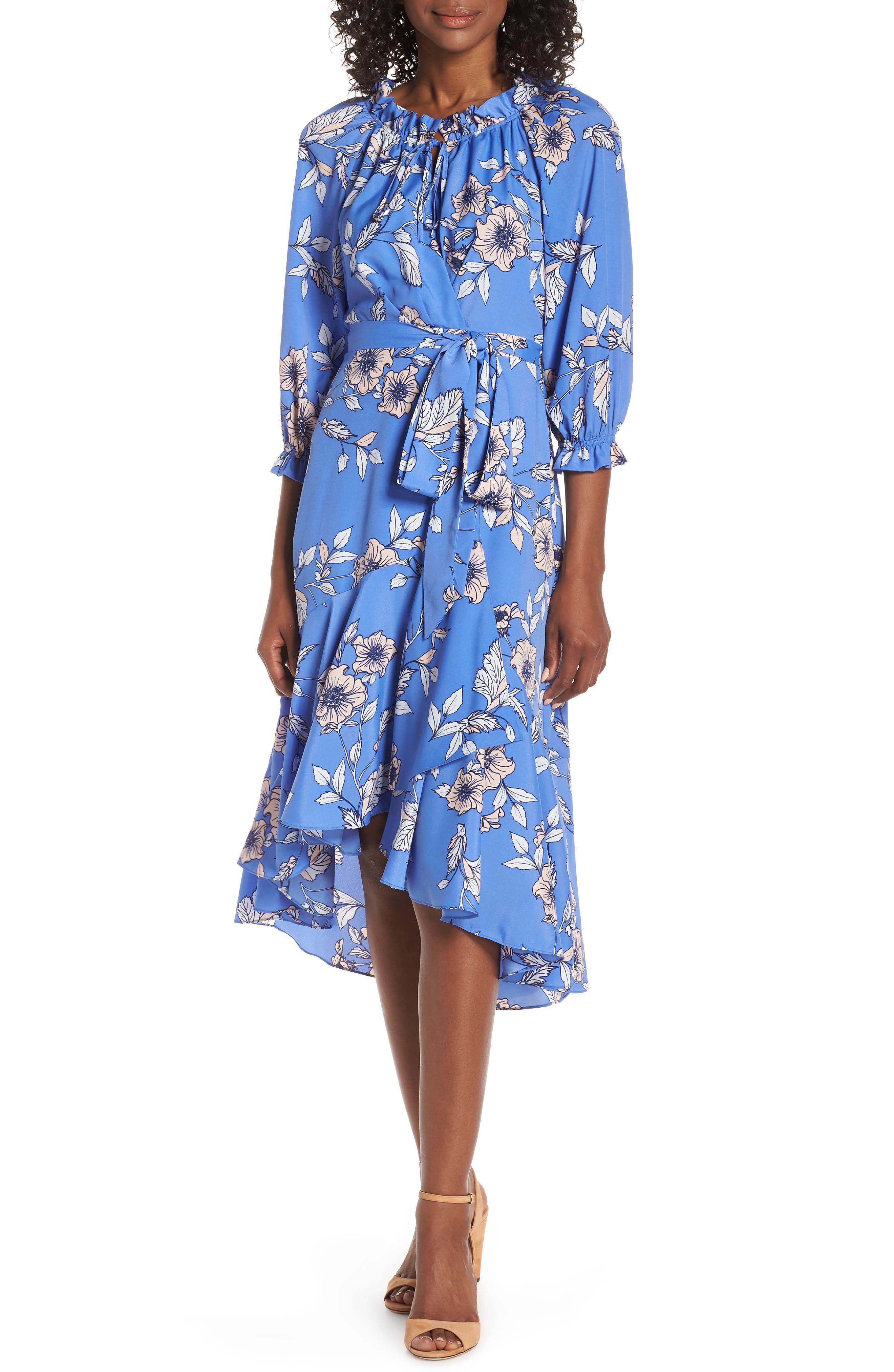 Eliza J Gathered Neck Faux Wrap Midi Dress, Blue