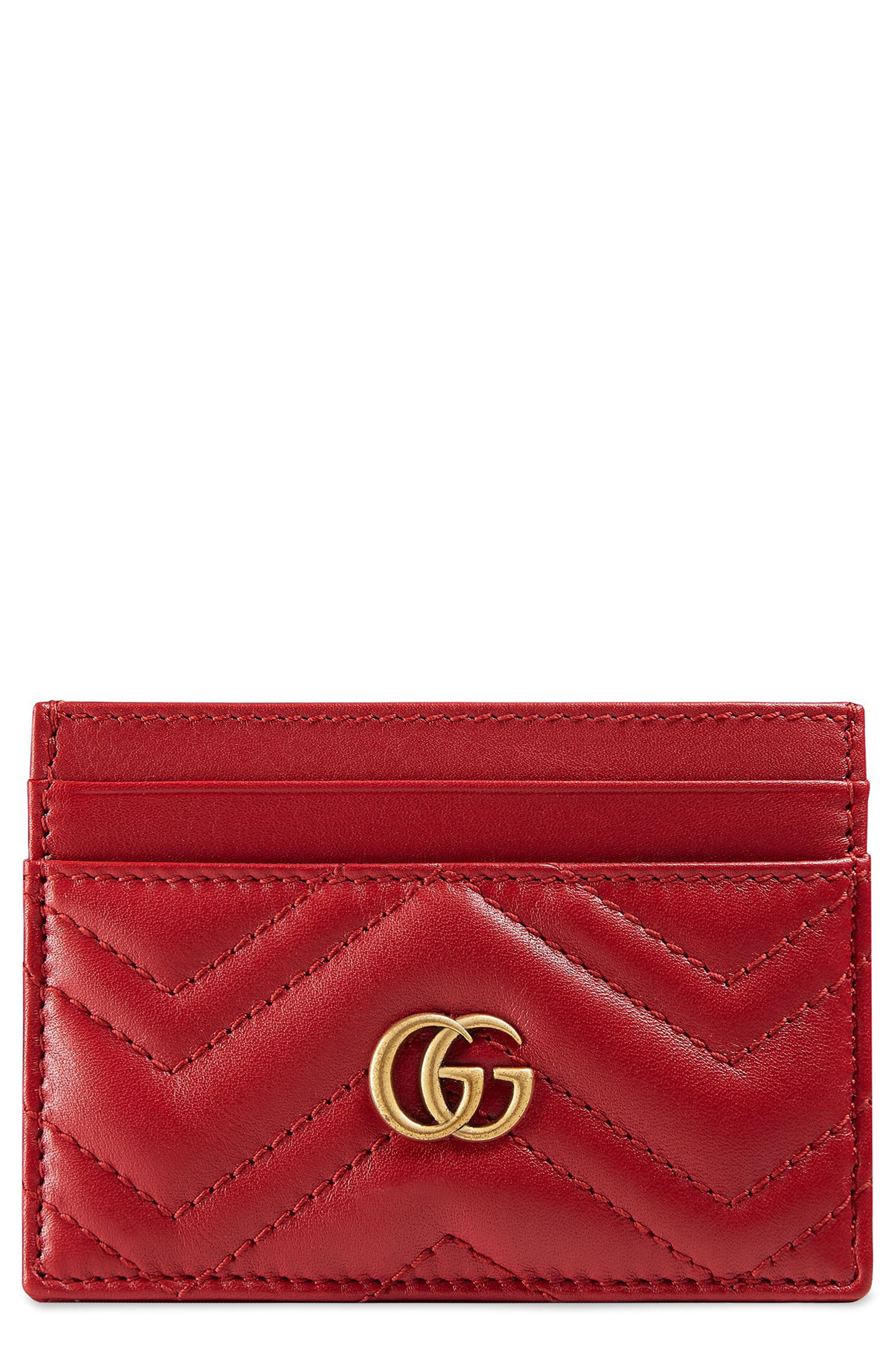 GG Marmont Matelassé Leather Card Case,                         Main,                         color, HIBISCUS RED