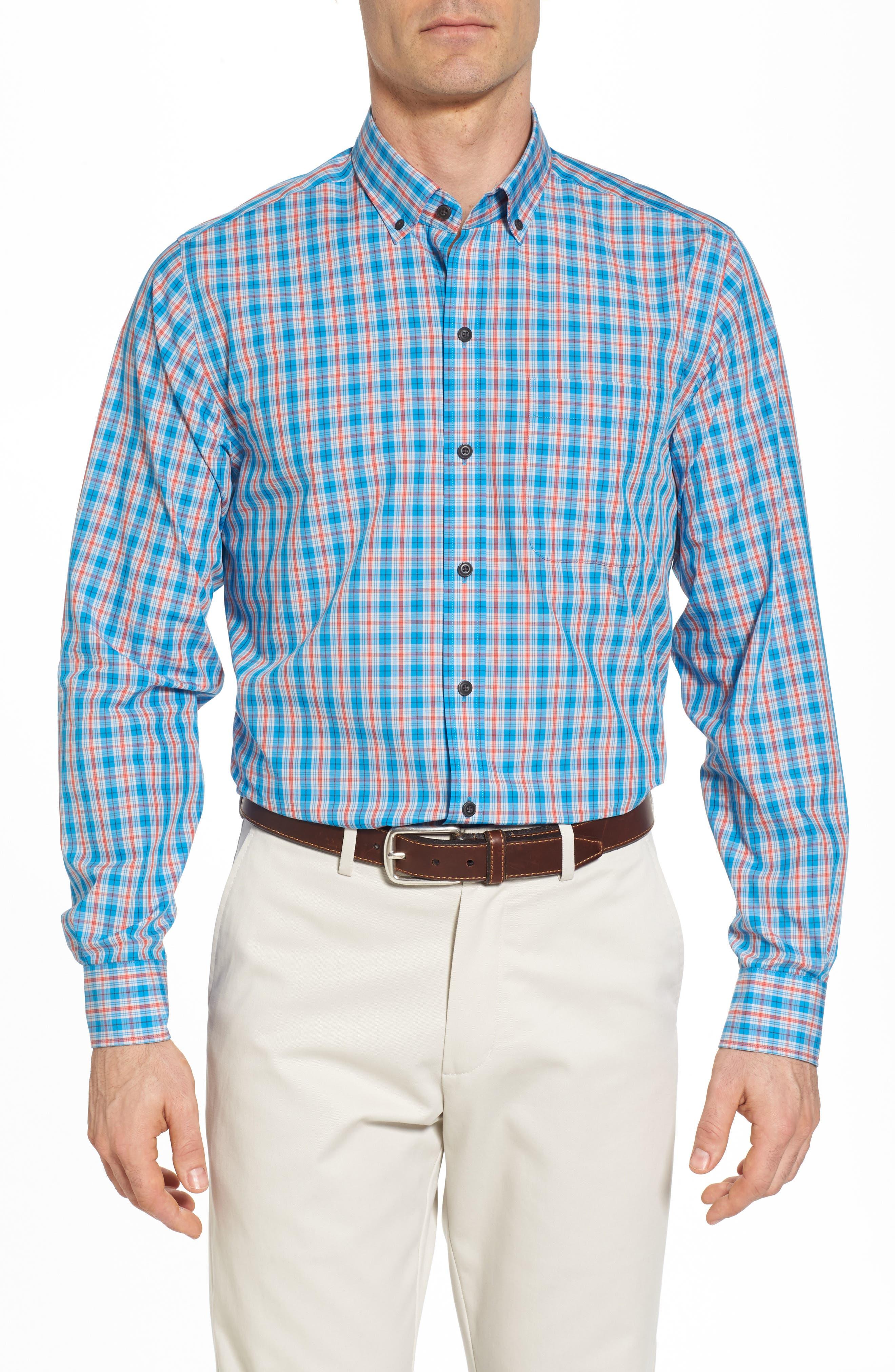 Landon Classic Fit Non-Iron Plaid Sport Shirt,                         Main,                         color, POOLSIDE